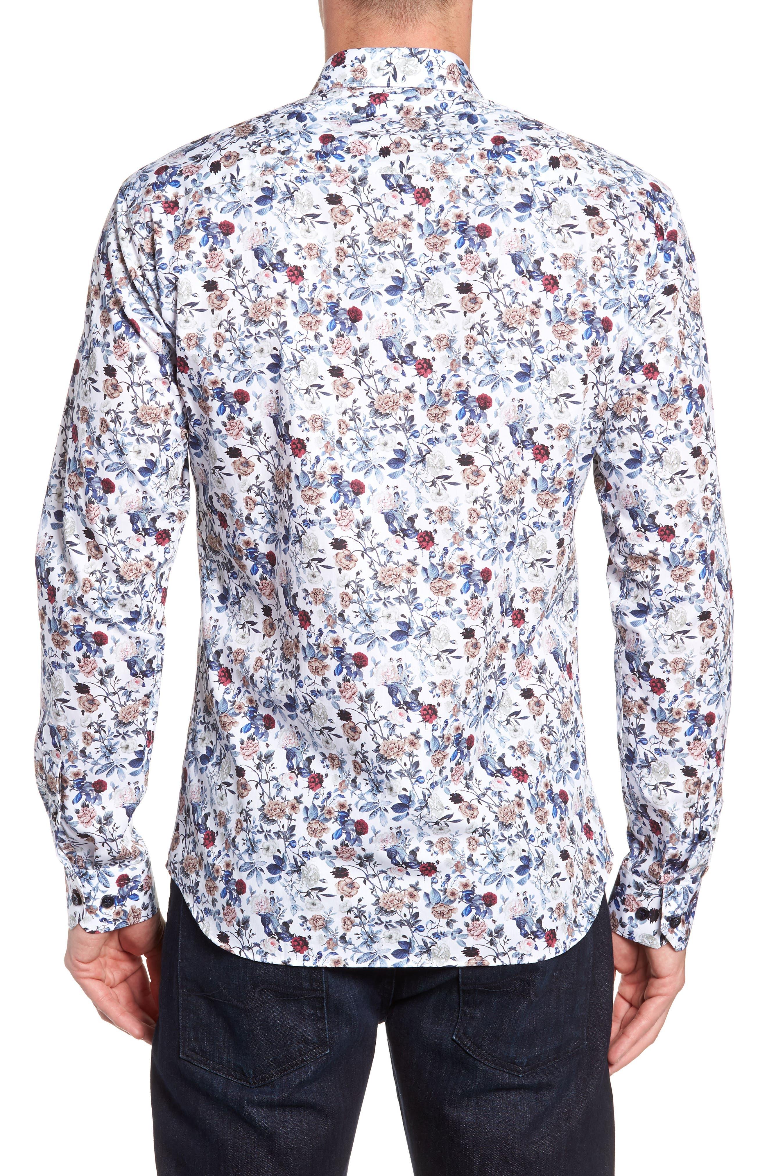 Floral Sport Shirt,                             Alternate thumbnail 3, color,                             100