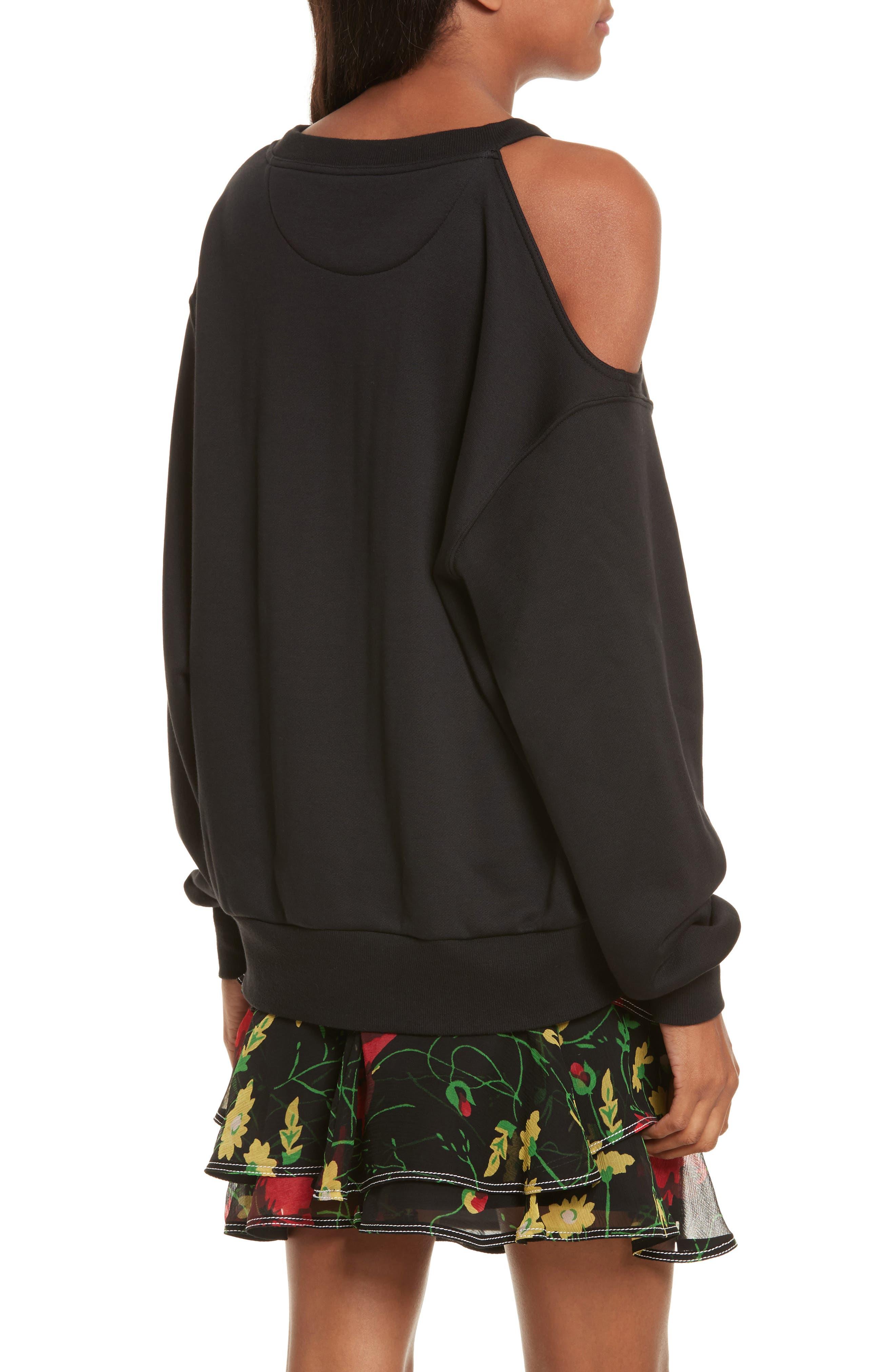 Asymmetrical Cold Shoulder Sweatshirt,                             Alternate thumbnail 2, color,                             001