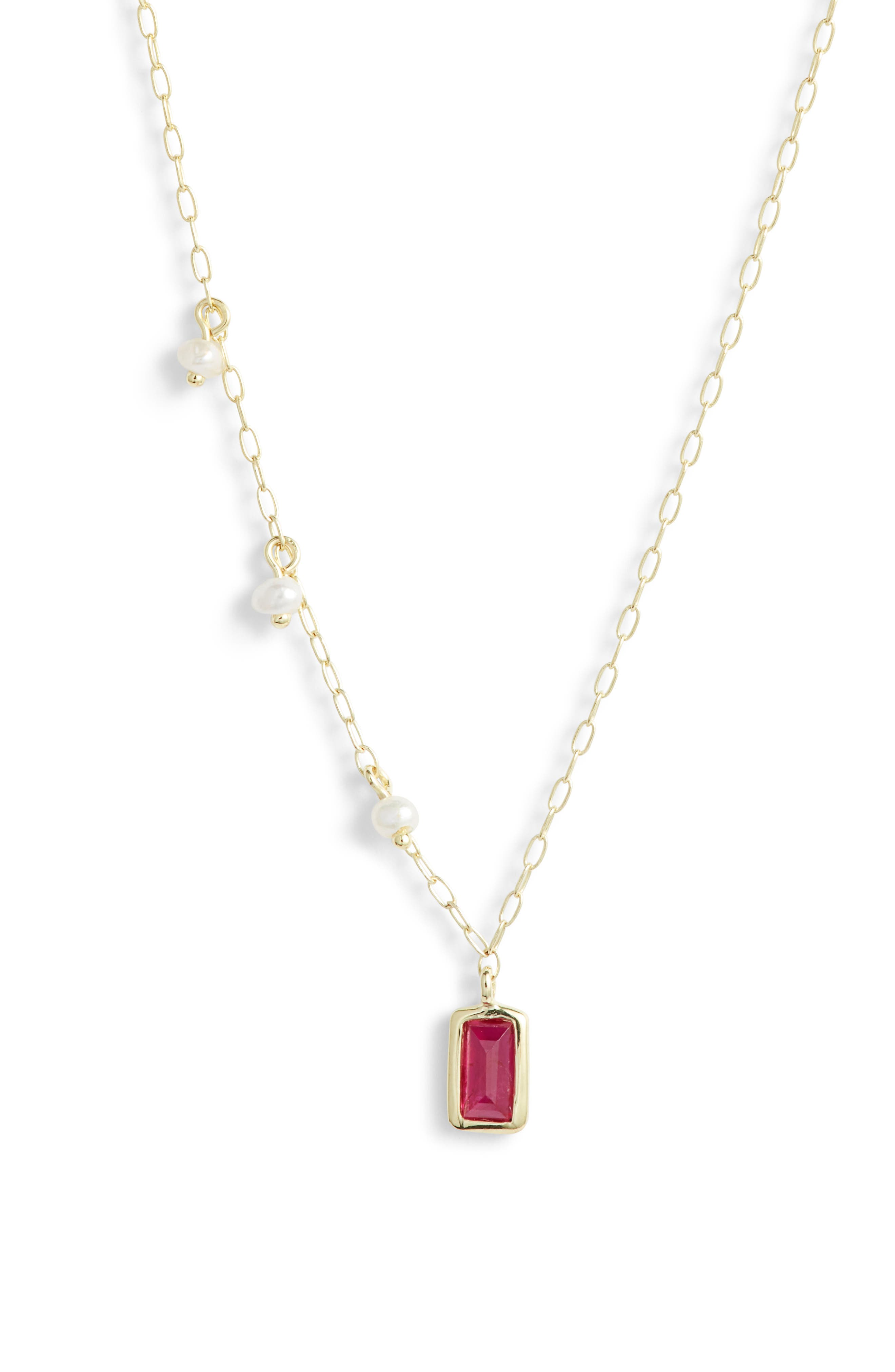 MEIRA T Ruby & Pearl Pendant Necklace in Gold/ Ruby