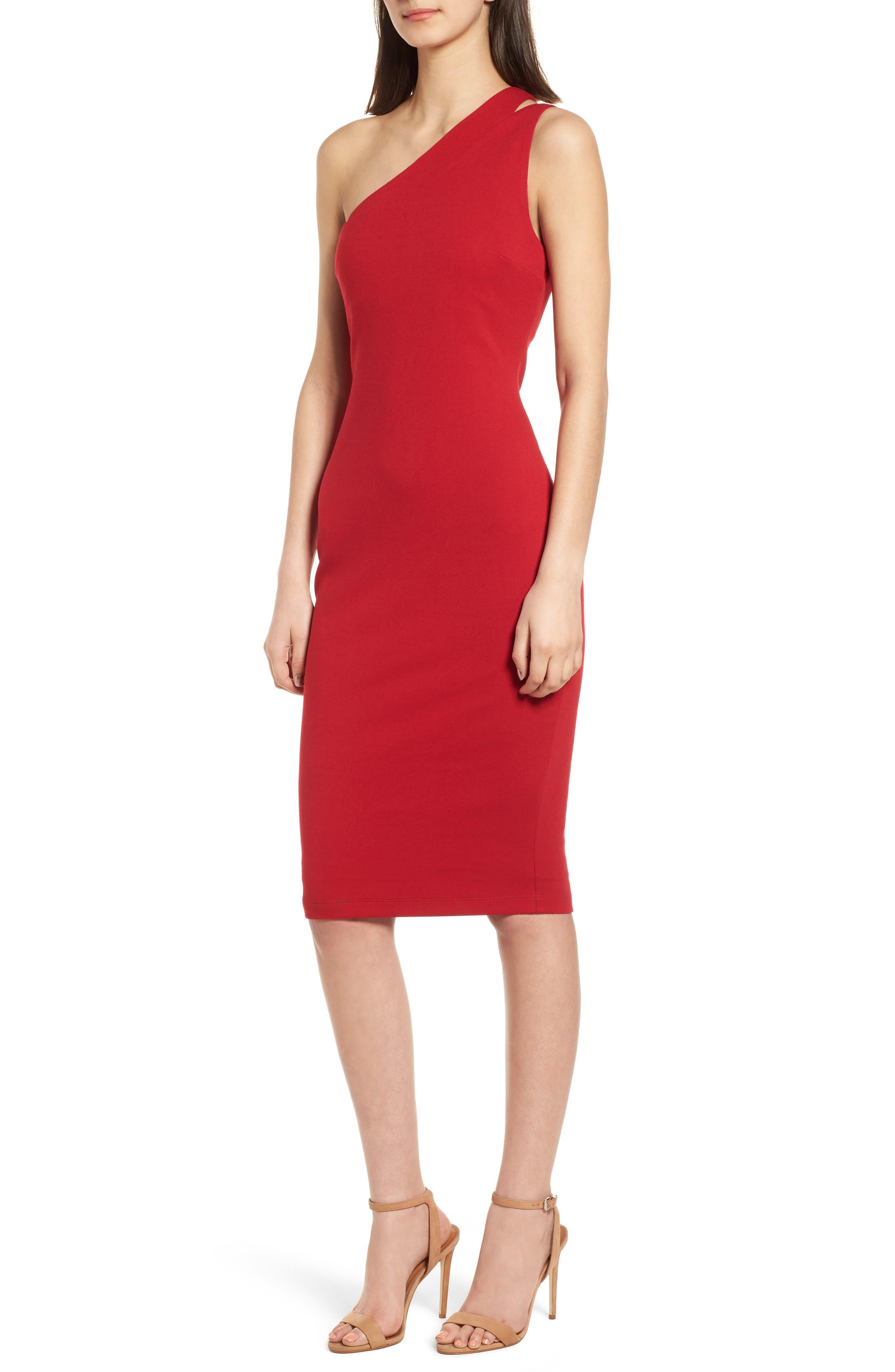 Sidewinder One-Shoulder Body-Con Dress,                         Main,                         color, 700