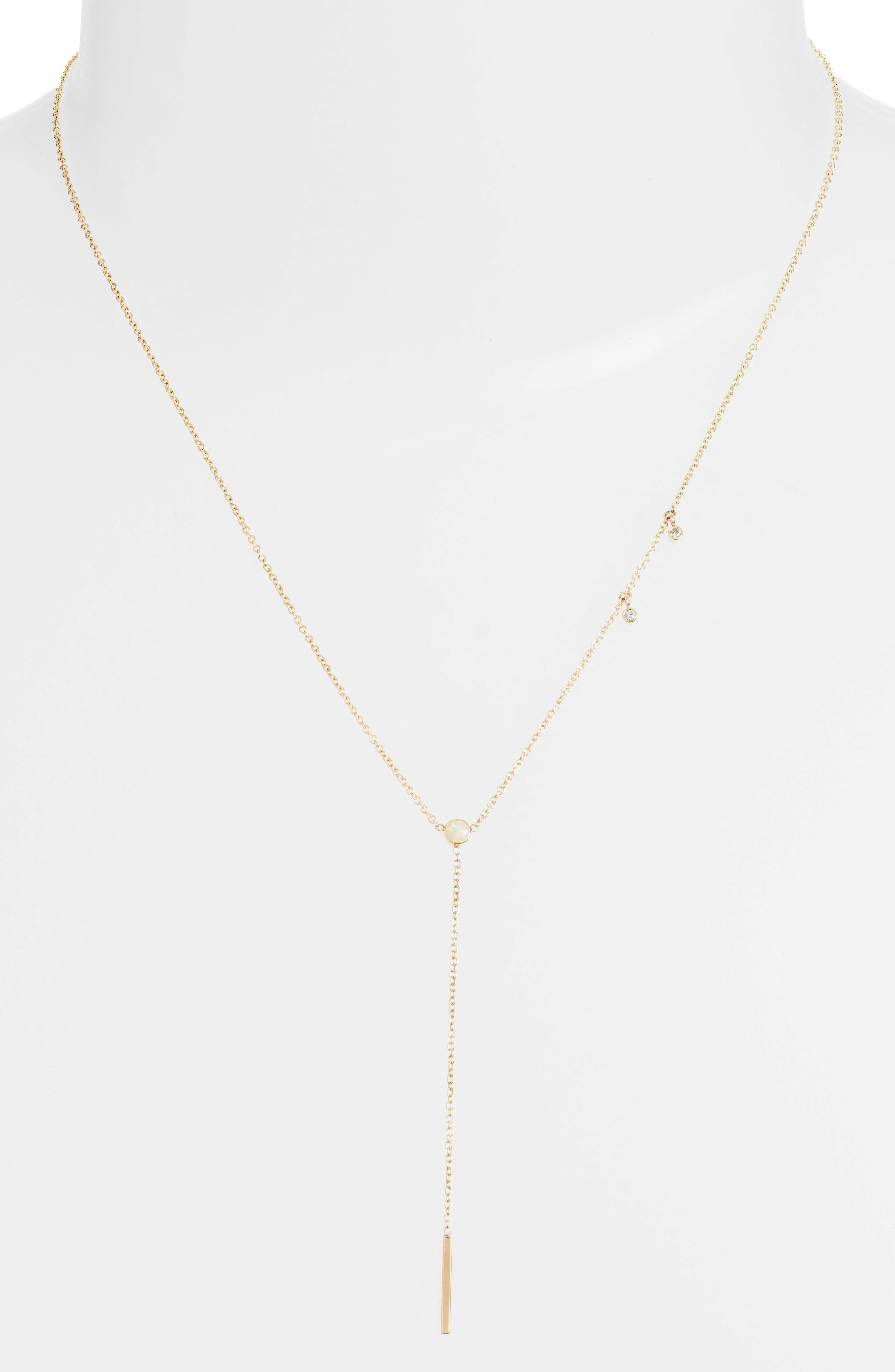 Zoe Chicco Diamond & Opal Bar Drop Lariat Necklace