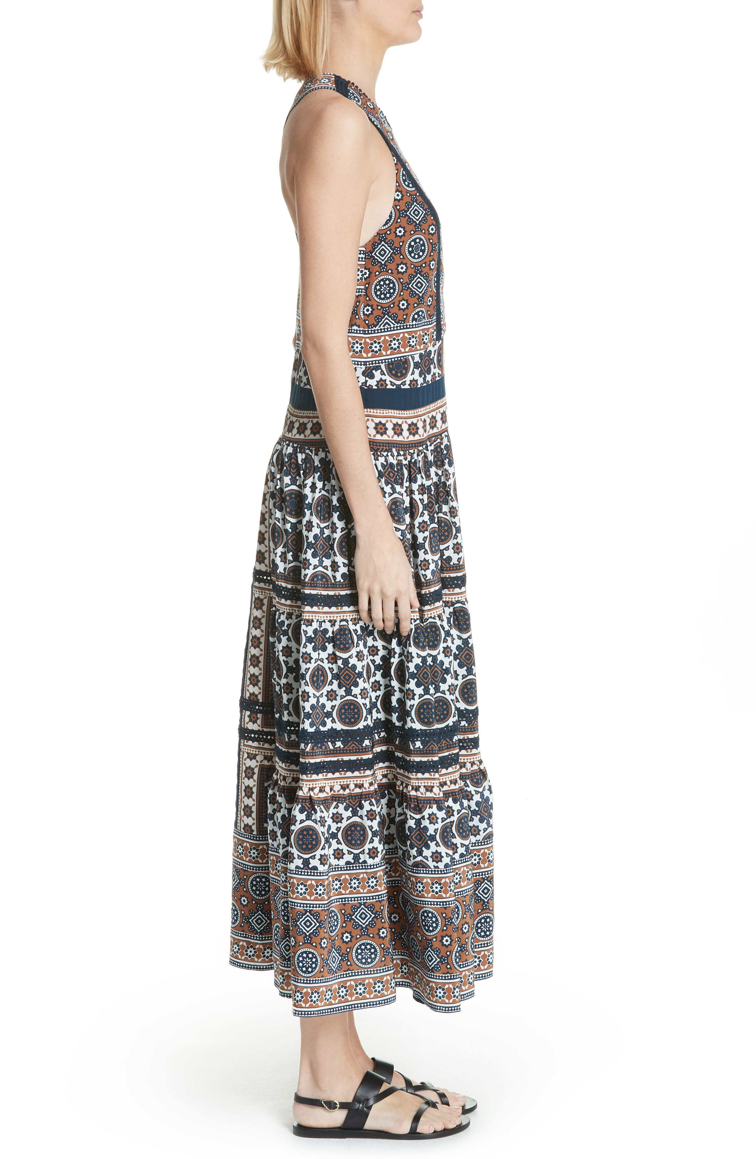 Ezri Print Maxi Dress,                             Alternate thumbnail 3, color,                             BLUE MULTI