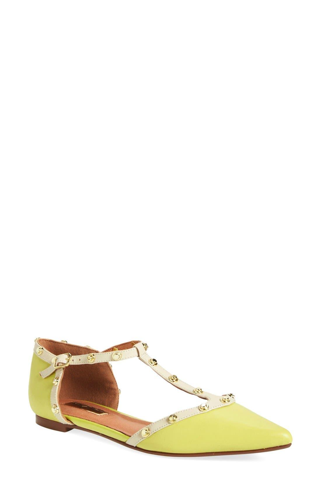 'Olson' Pointy Toe Studded T-Strap Flat,                             Main thumbnail 17, color,