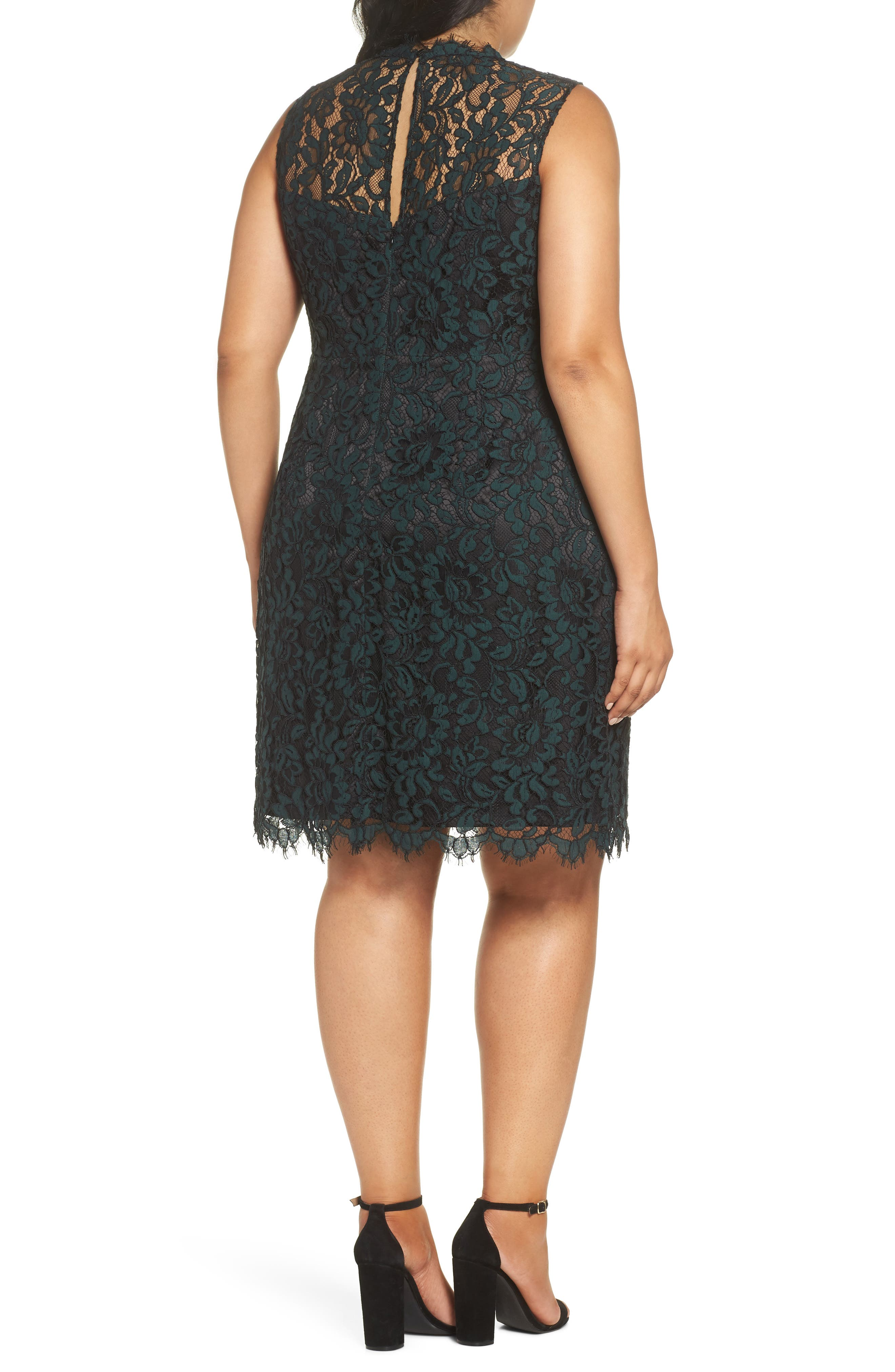 Lace Sheath Dress,                             Alternate thumbnail 2, color,                             GREEN