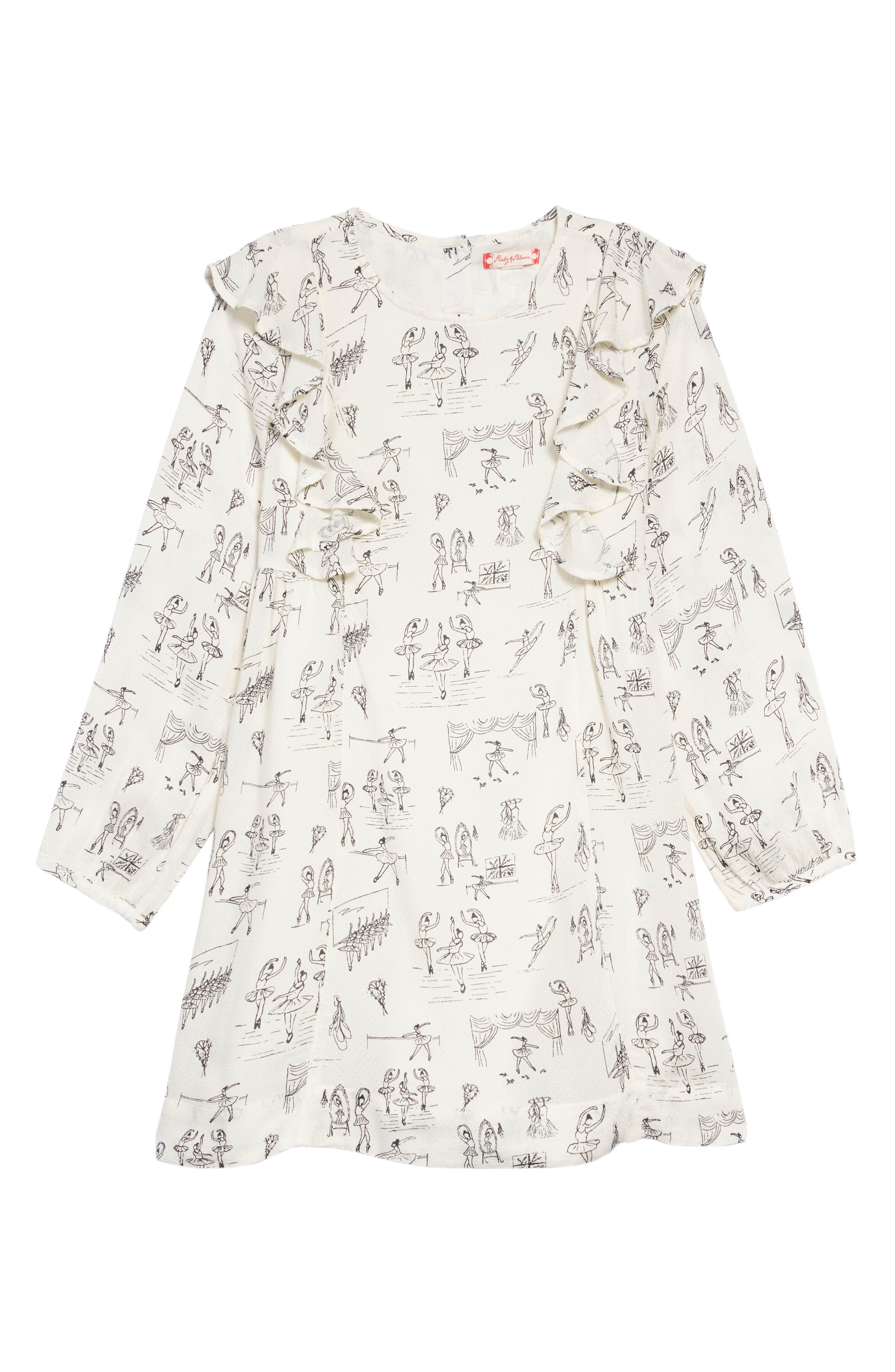 Ballet Print Ruffle Dress,                         Main,                         color, IVORY EGRET BALLET
