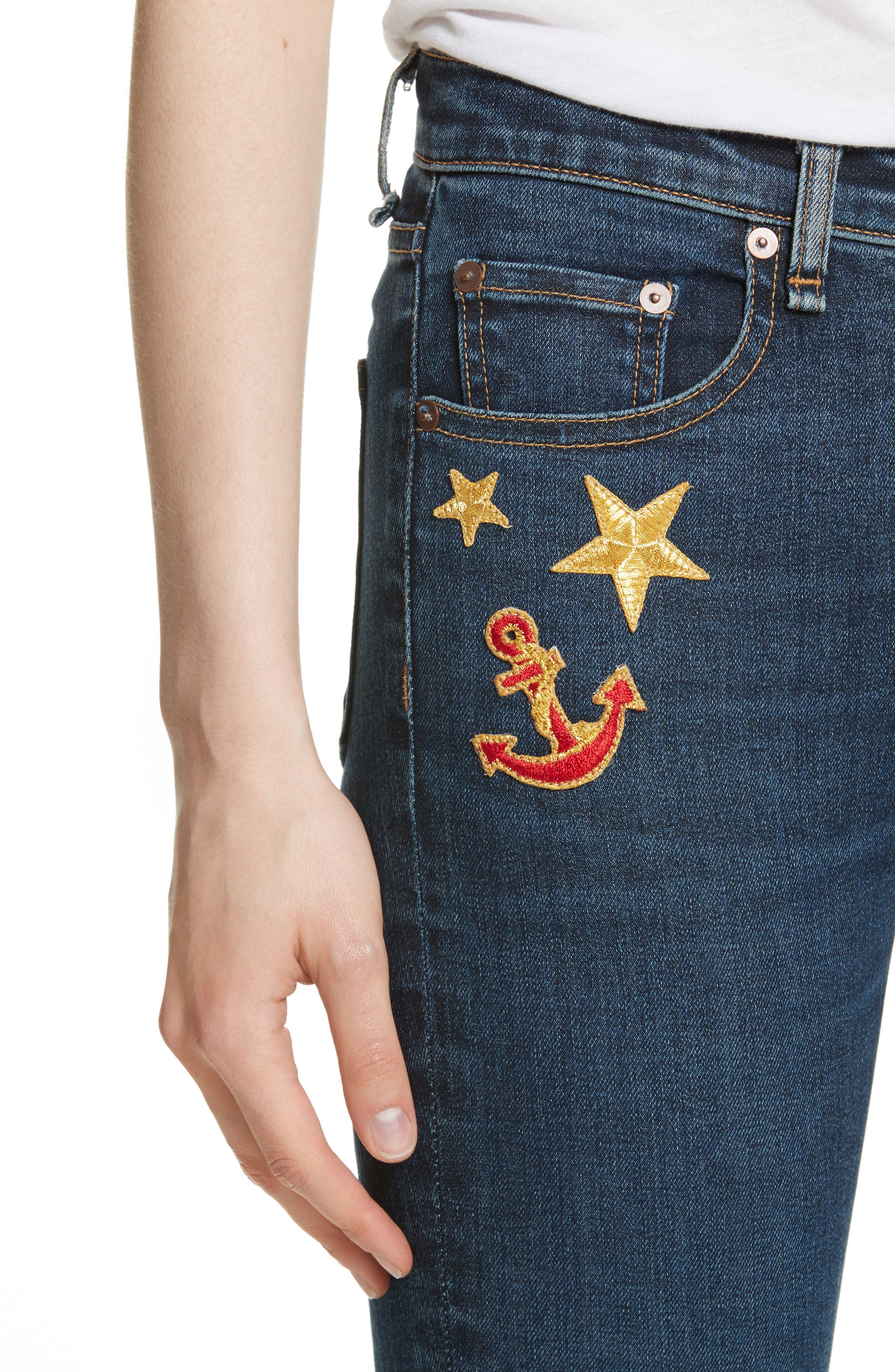 Kate Patch Skinny Jeans,                             Alternate thumbnail 4, color,                             440