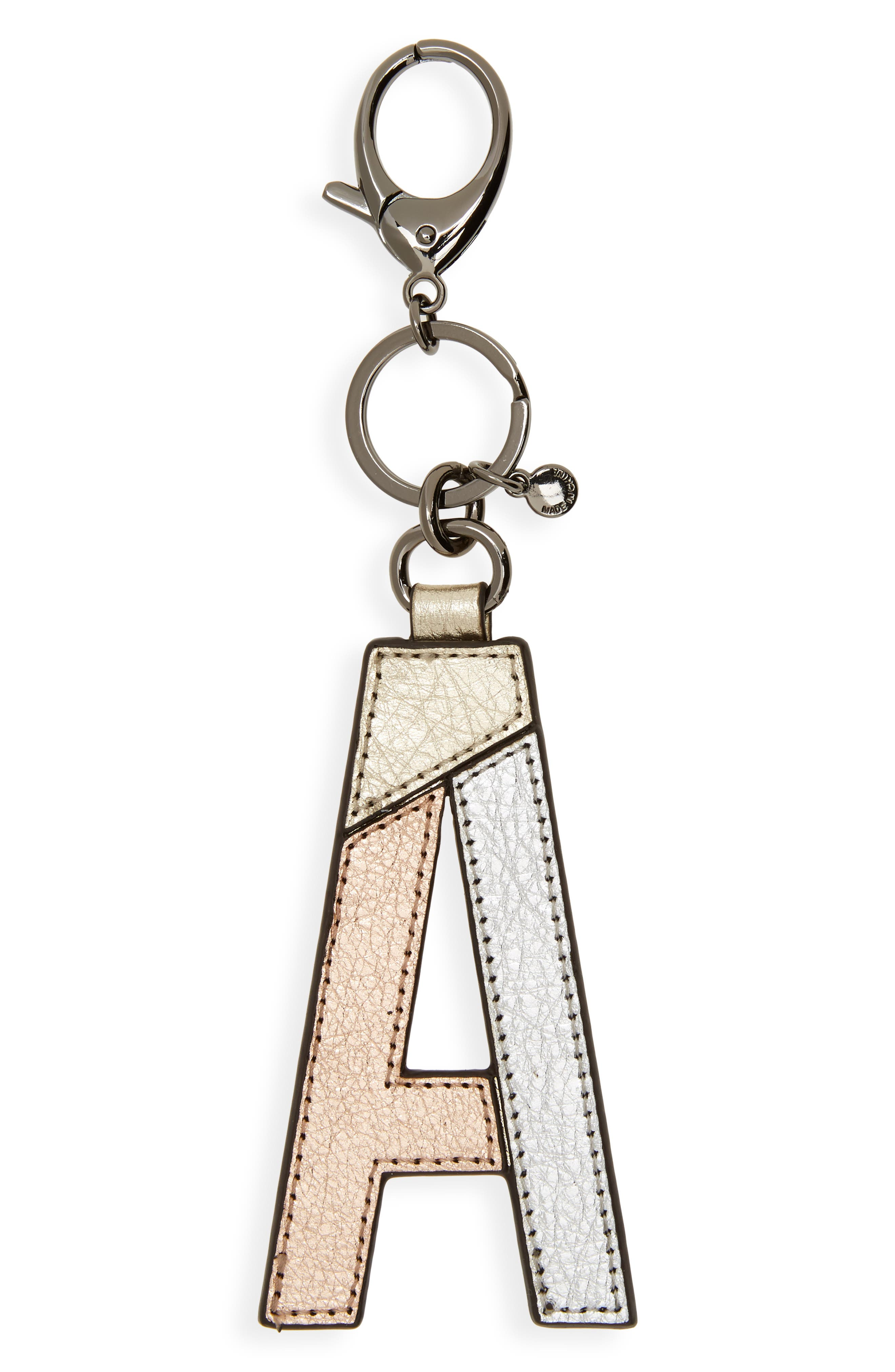 Metallic Leather Letter Bag Charm,                         Main,                         color, 040