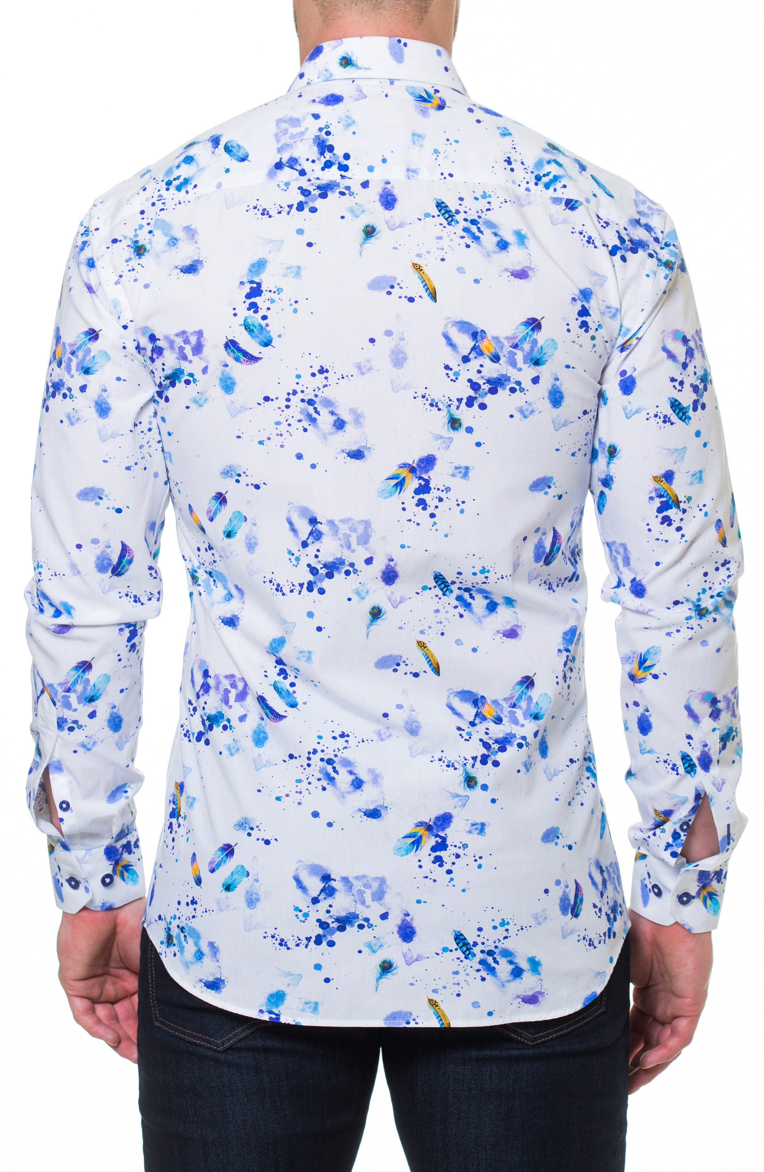 Luxor Peacock Splatter Slim Fit Sport Shirt,                             Alternate thumbnail 2, color,                             WHITE