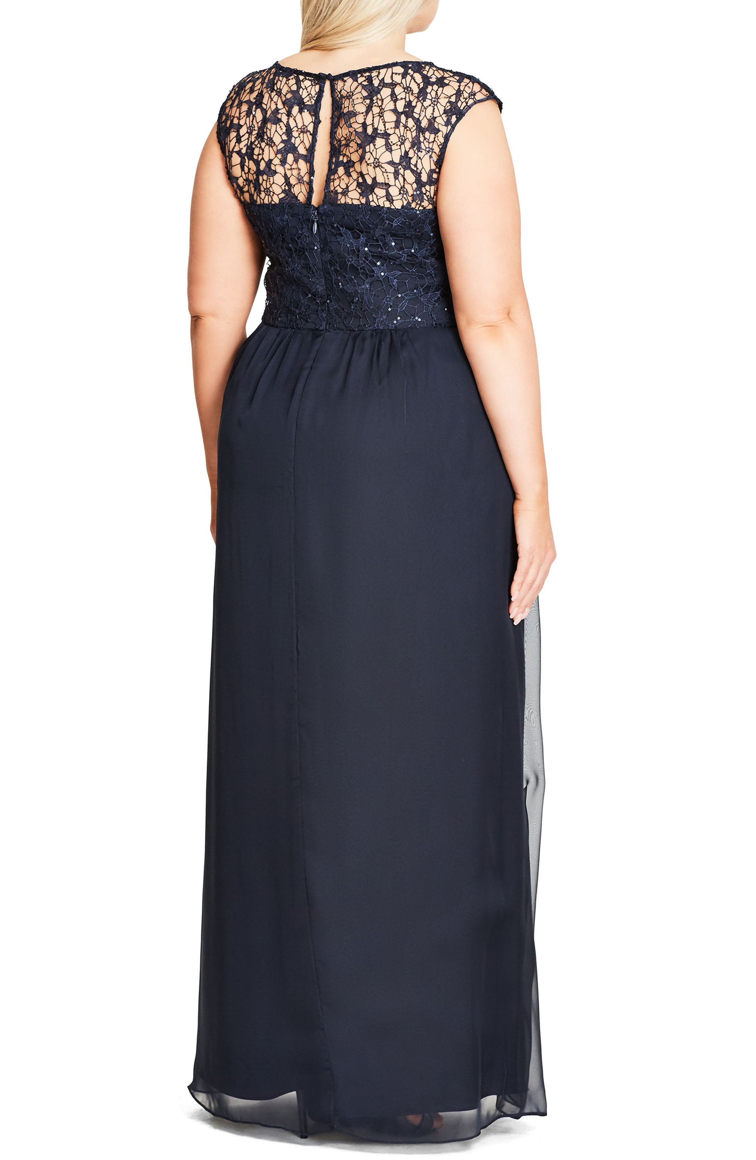 Sequin Lace Gown,                             Alternate thumbnail 2, color,                             NAVY MIDNIGHT