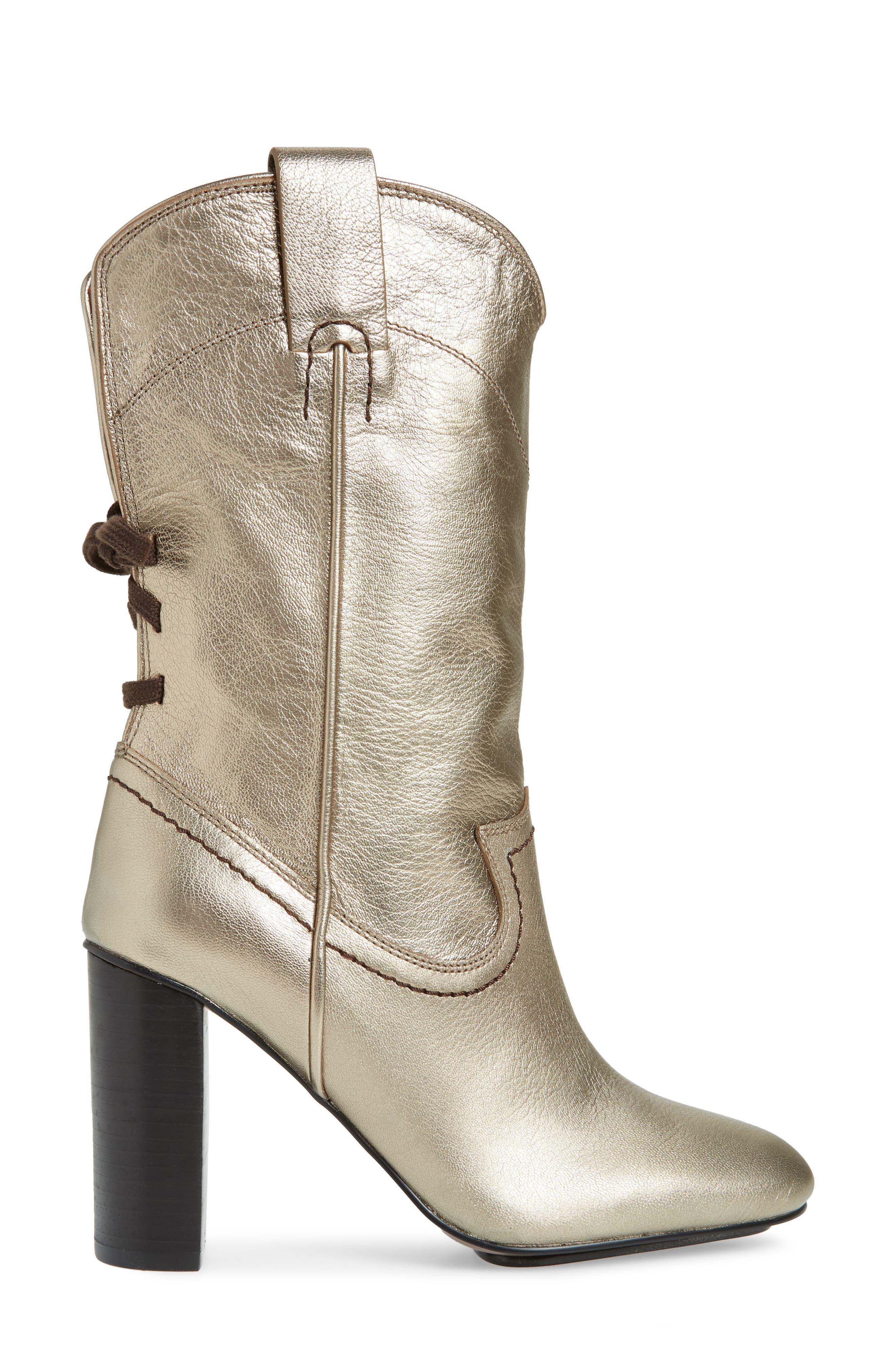 Annika Split Shaft Western Boot,                             Alternate thumbnail 3, color,                             ACCIAIO