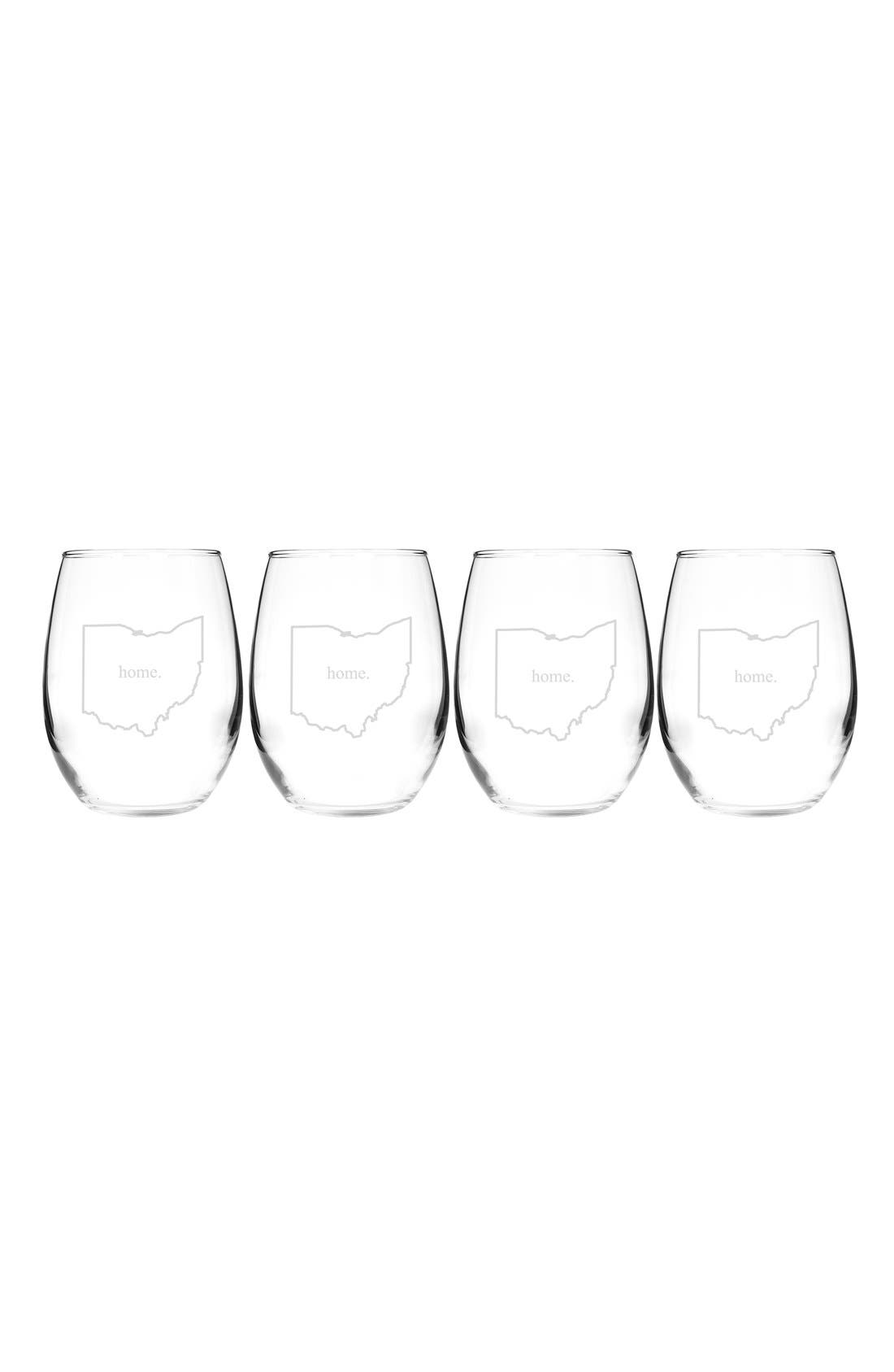 Home State Set of 4 Stemless Wine Glasses,                             Main thumbnail 36, color,