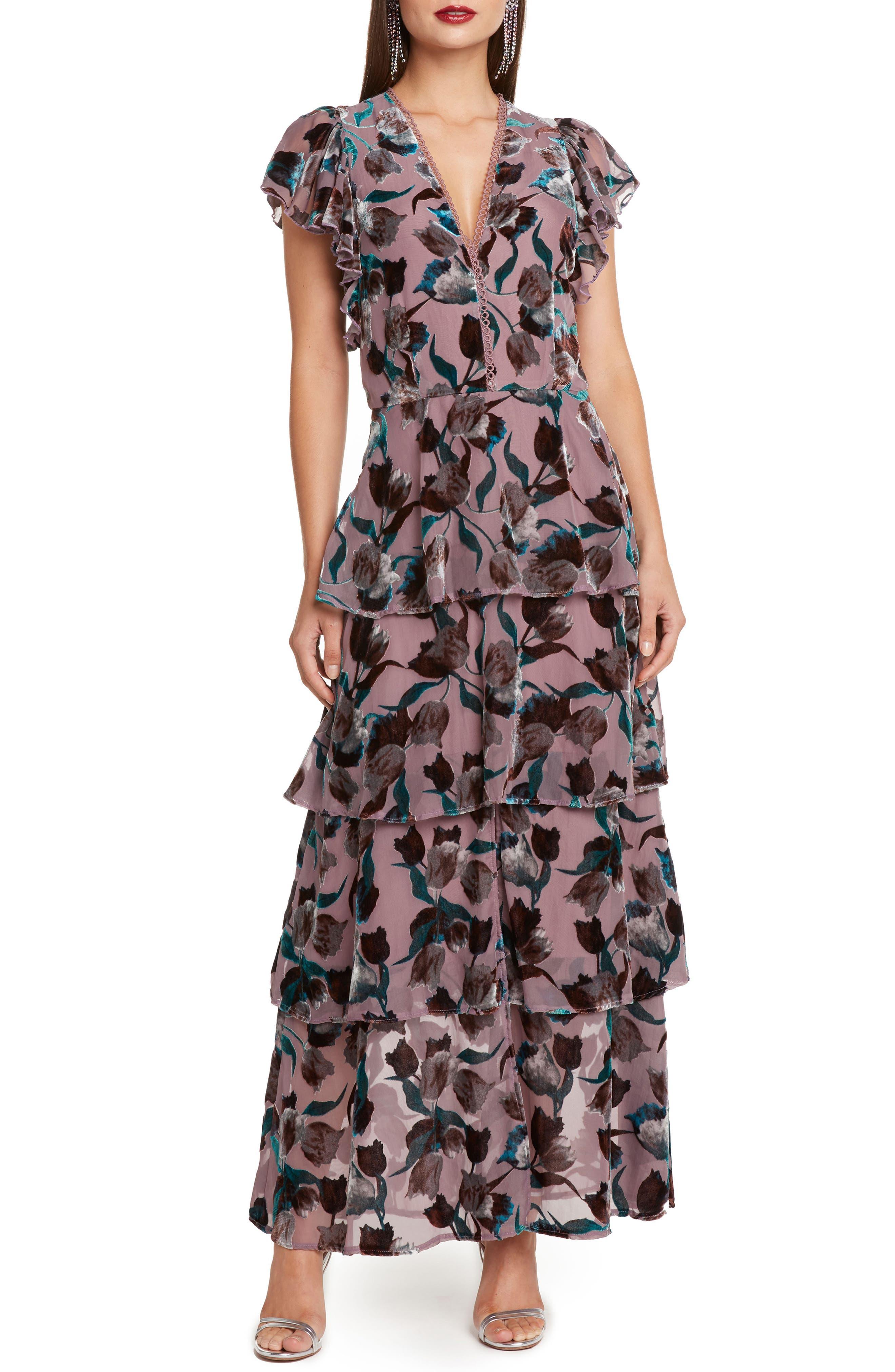 Velvet Burnout Tiered Maxi Dress,                             Main thumbnail 1, color,                             DUSTY LILAC