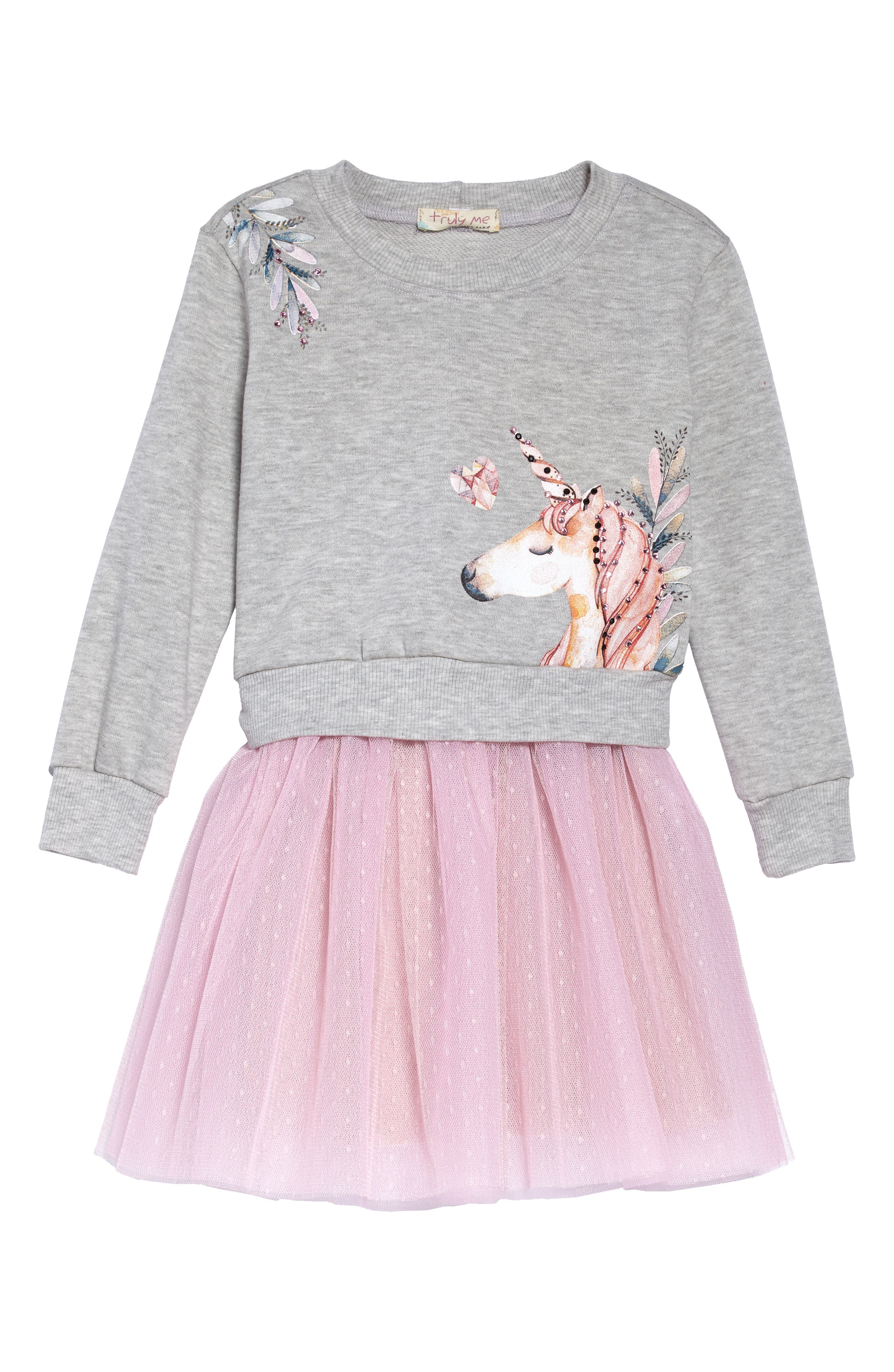 Unicorn Sweatshirt & Tutu Dress Set,                             Alternate thumbnail 2, color,                             GREY PINK