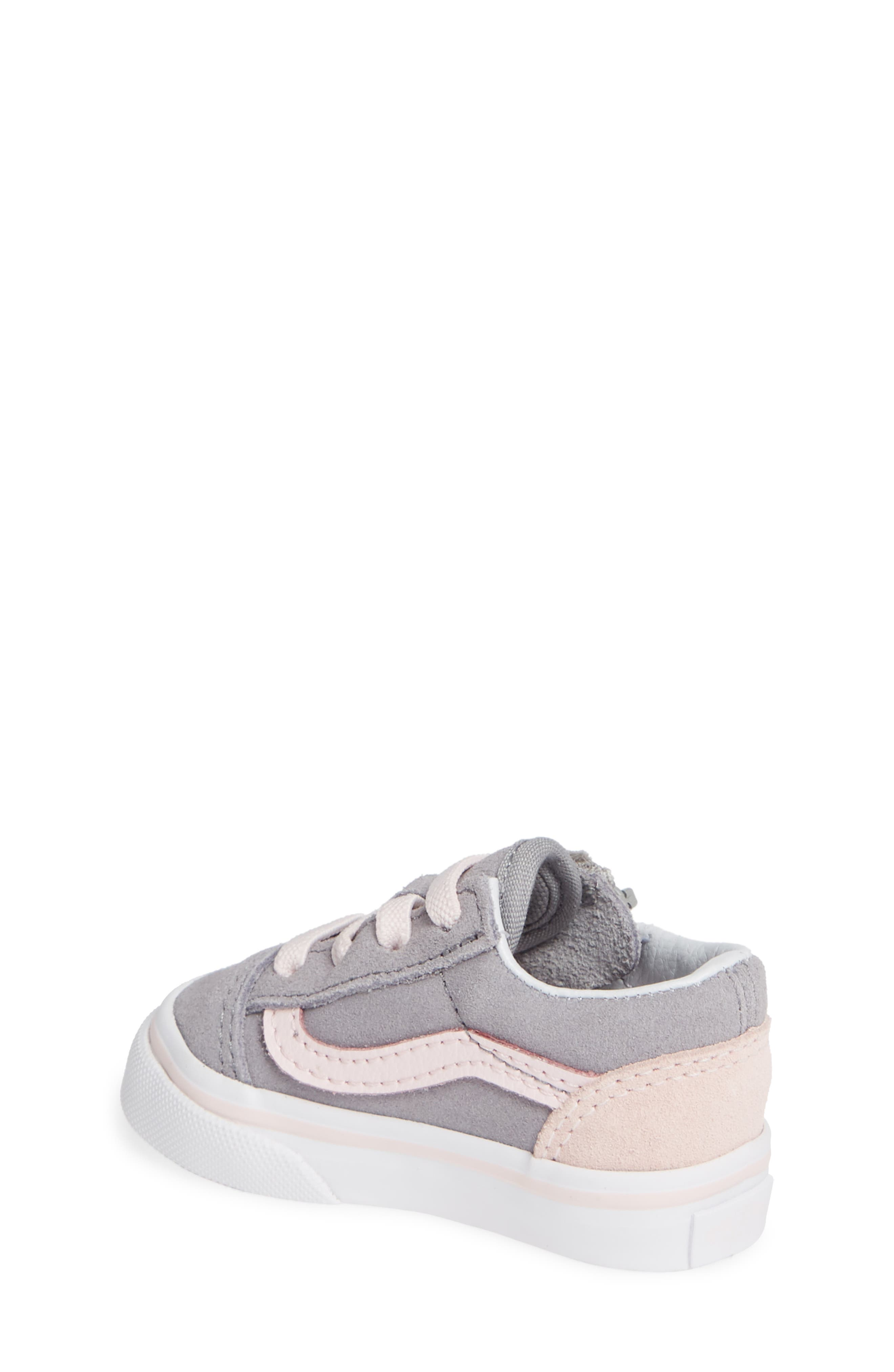 Old Skool Zip Sneaker,                             Alternate thumbnail 2, color,                             SUEDE ALLOY/ PINK/ TRUE WHITE