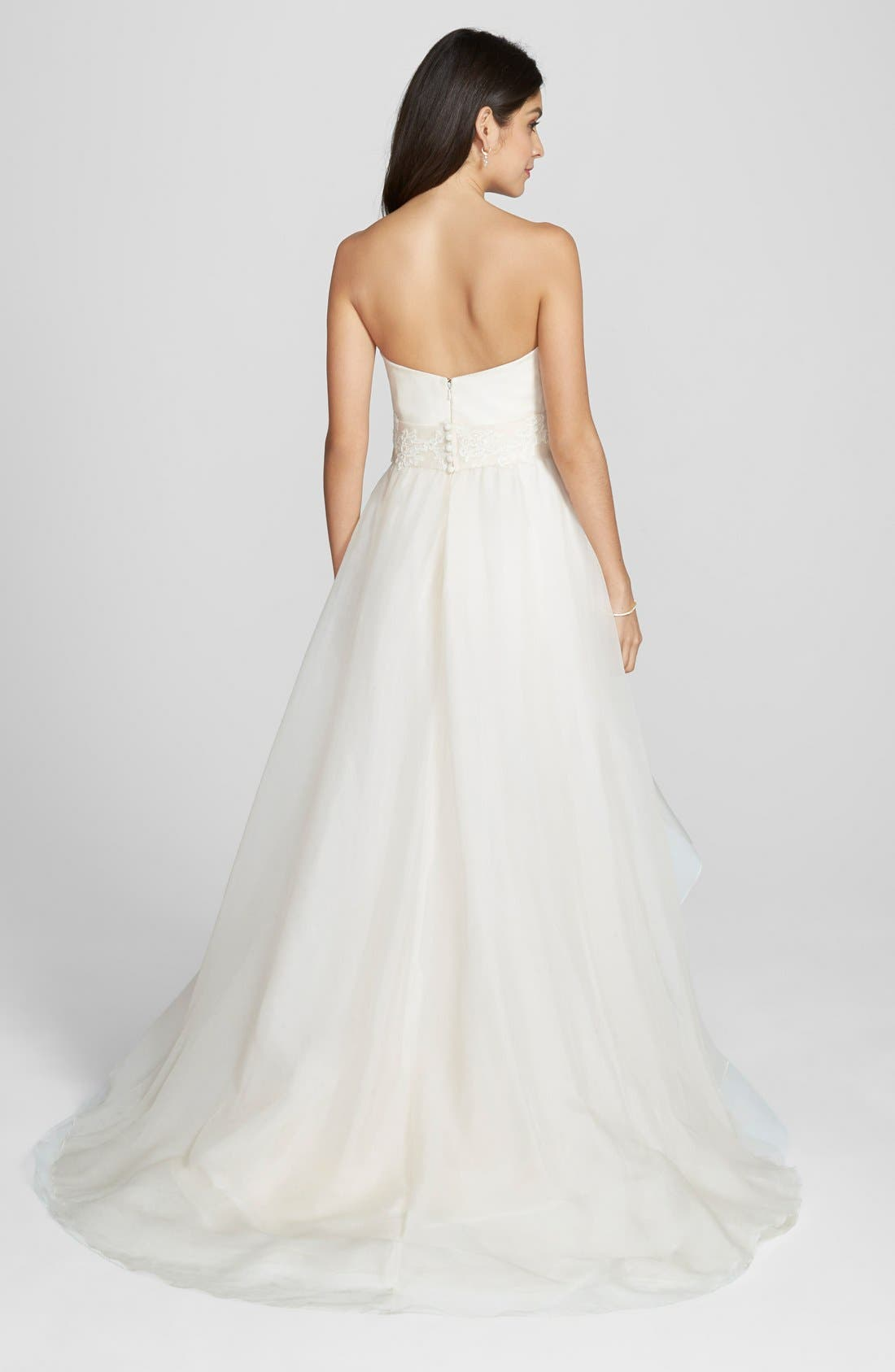 'Hailee' Silk Organza Strapless Flared Gown,                             Alternate thumbnail 2, color,                             650