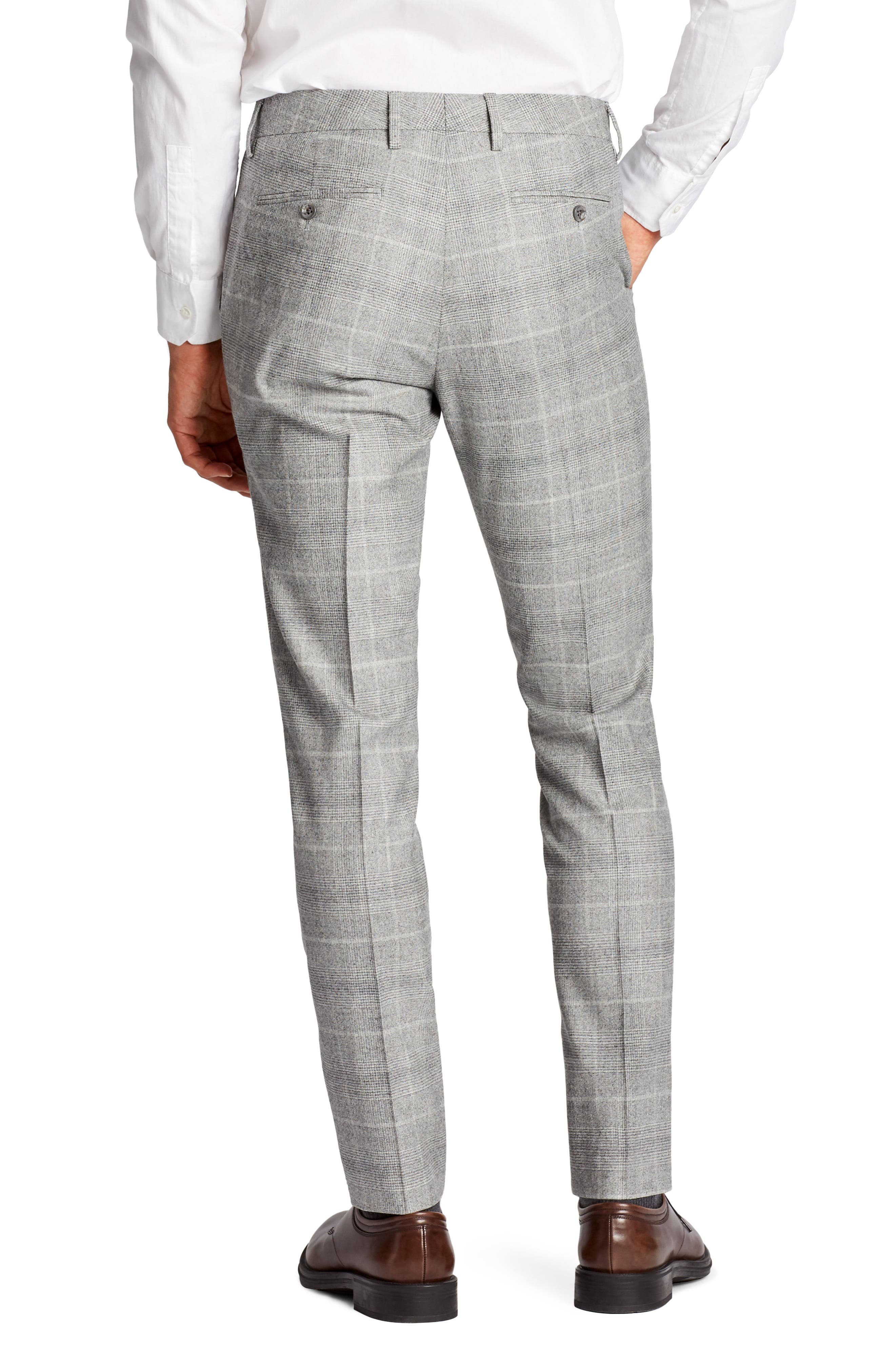 Jetsetter Flat Front Plaid Stretch Wool Trousers,                             Alternate thumbnail 2, color,                             020
