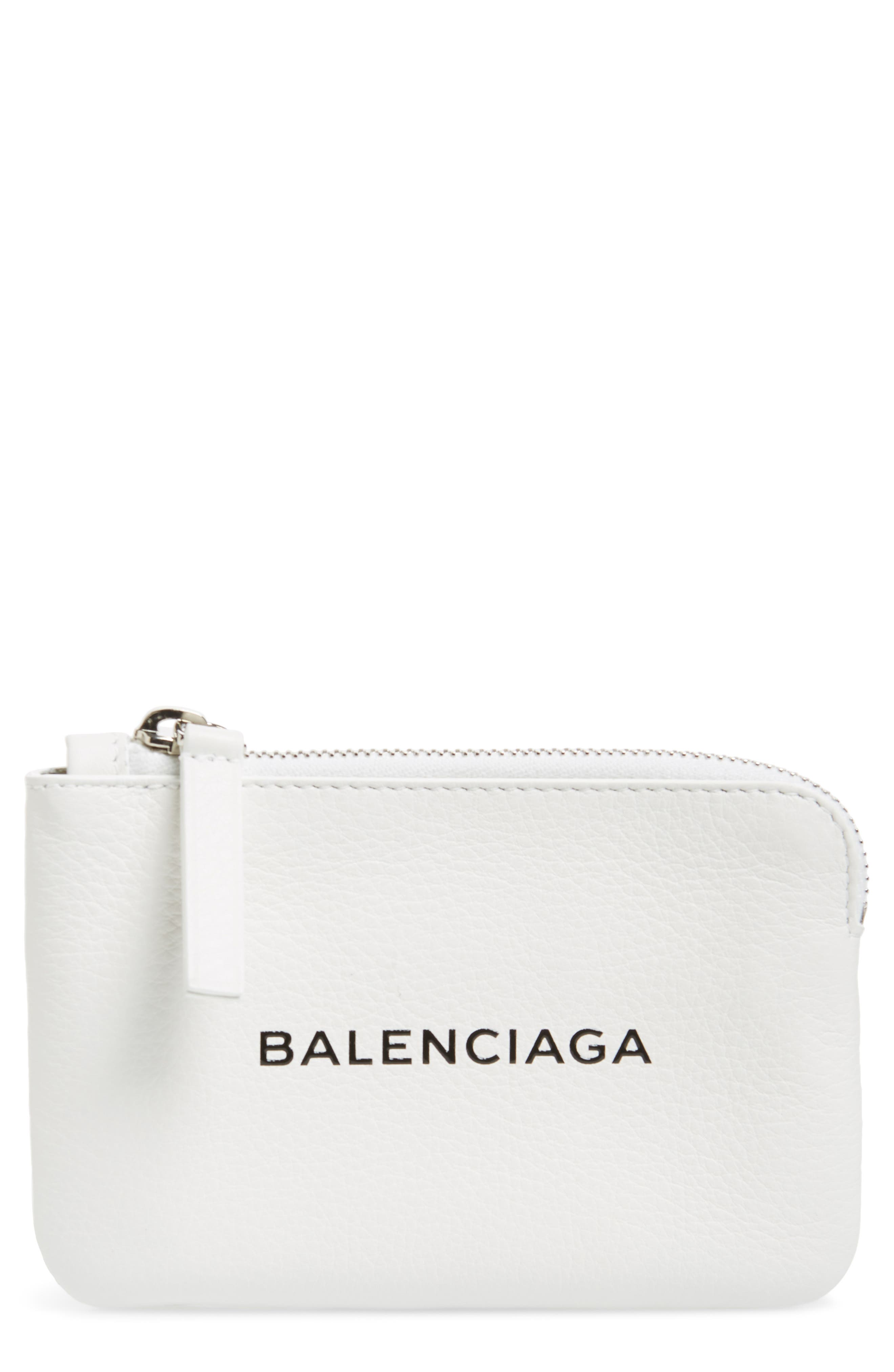 BALENCIAGA,                             Everyday Leather Pouch,                             Main thumbnail 1, color,                             BLANC OPTIQUE/ NOIR