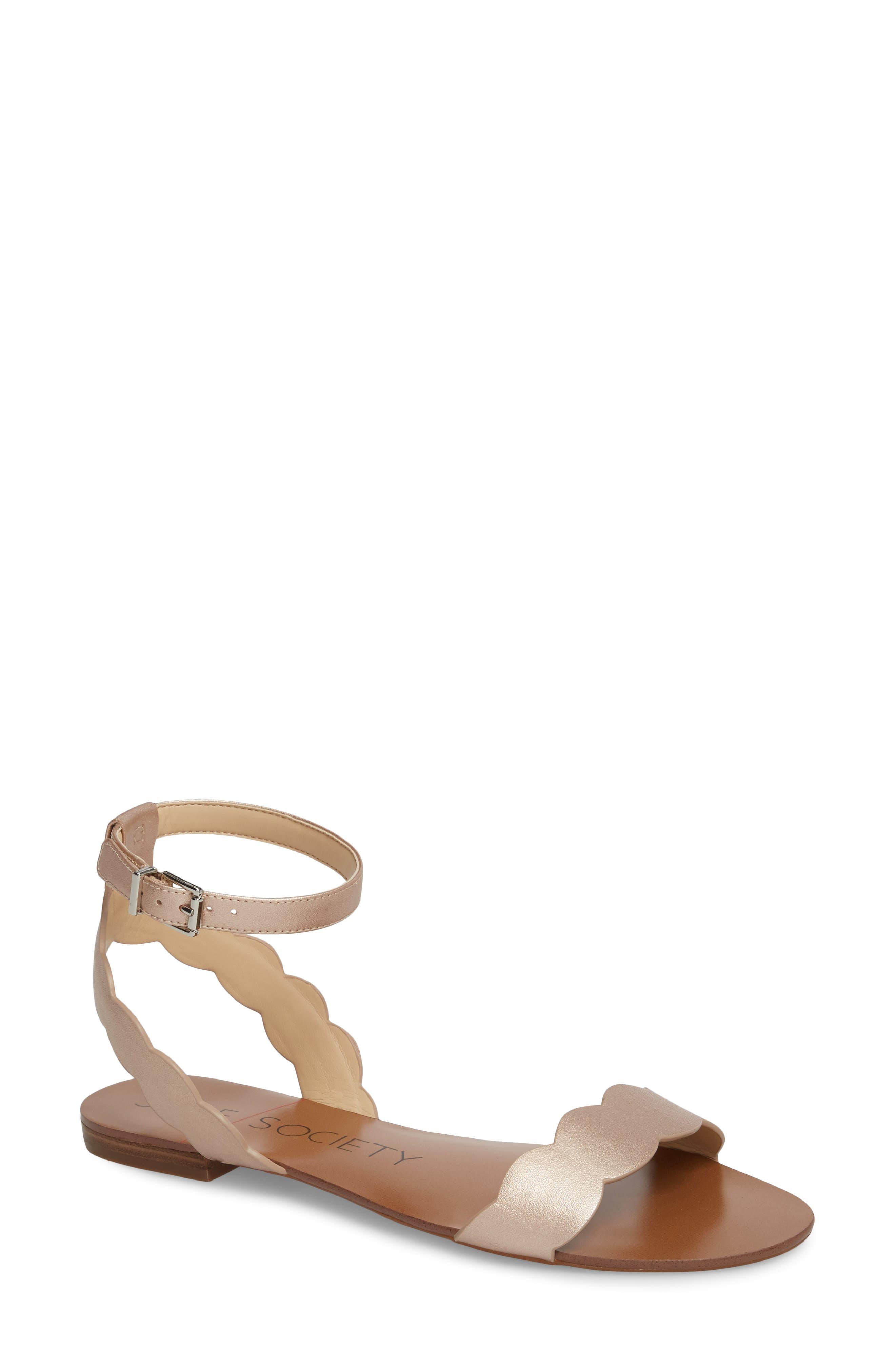 'Odette' Scalloped Ankle Strap Flat Sandal,                             Main thumbnail 1, color,