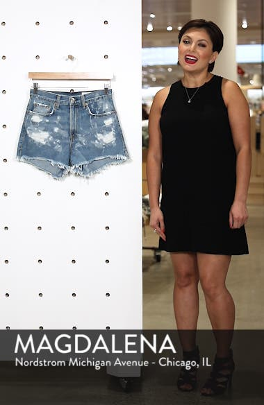 Justine High Waist Cutoff Denim Shorts, sales video thumbnail