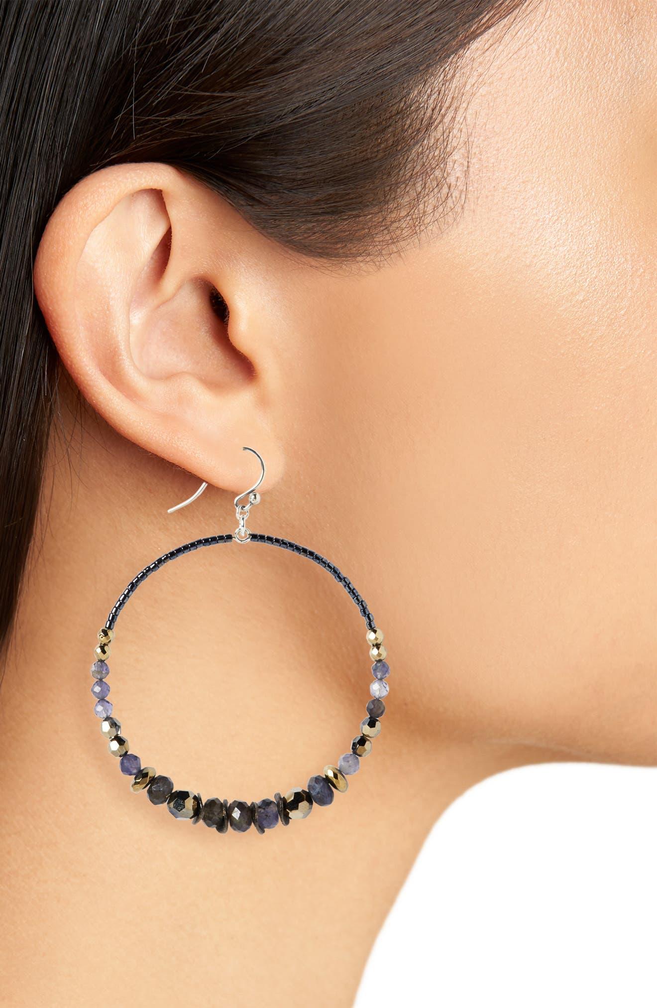 Mixed Stone & Crystal Hoop Earrings,                             Alternate thumbnail 2, color,                             METALLIC LIGHT GOLD MIX