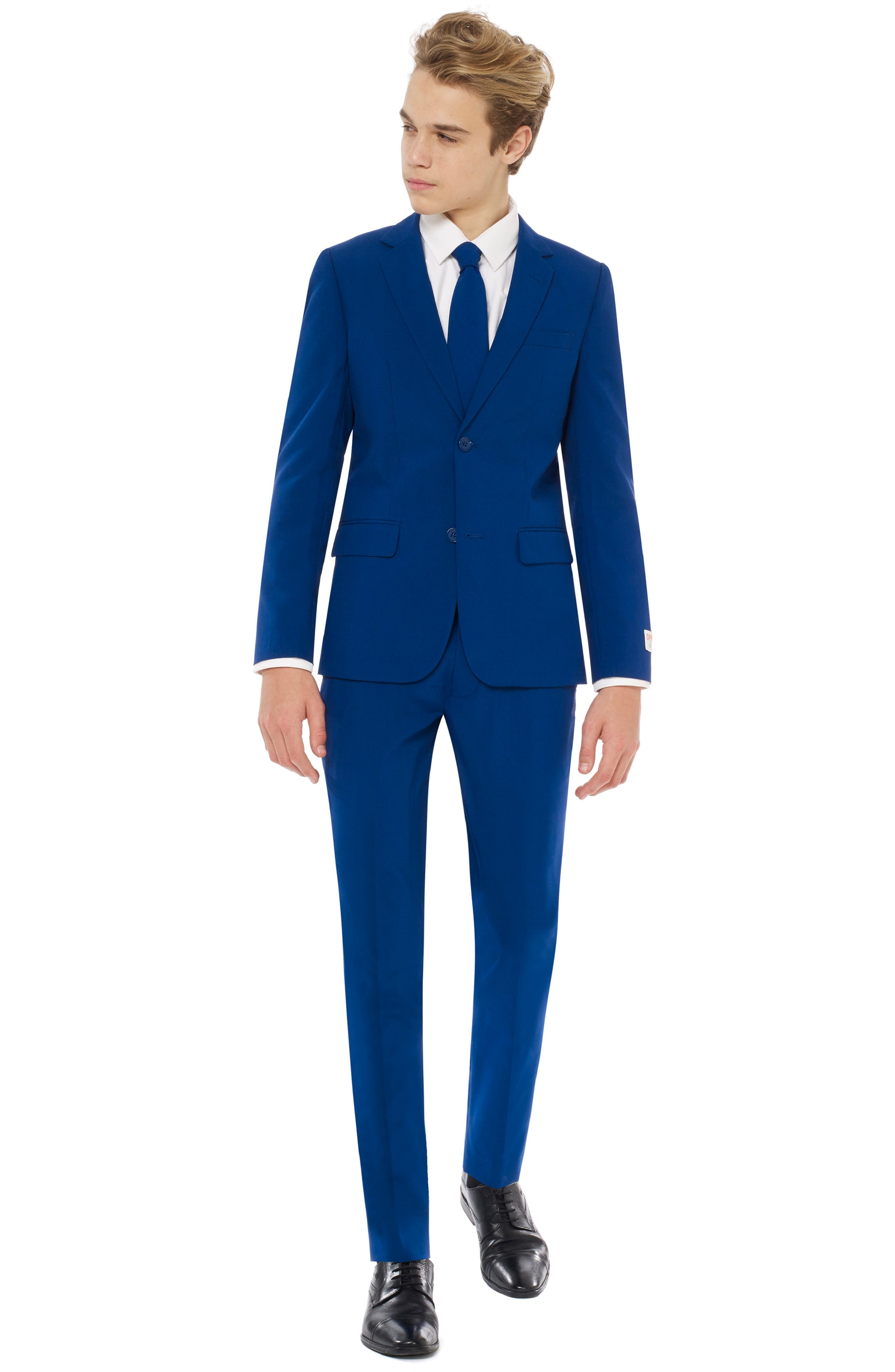 Navy Royale Two-Piece Suit with Tie,                             Main thumbnail 1, color,                             BLUE