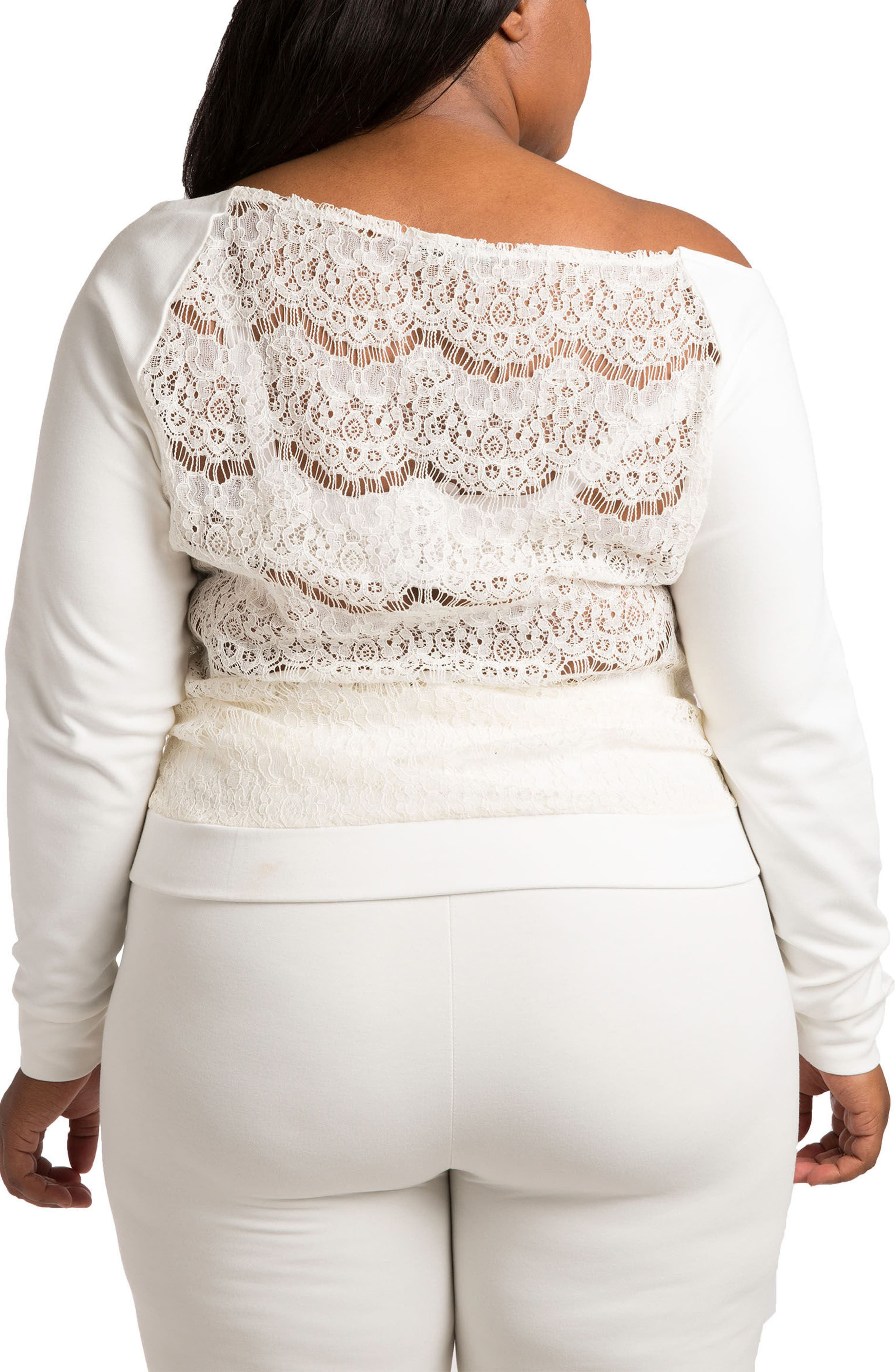 POETIC JUSTICE,                             Lace & Ponte Knit Top,                             Alternate thumbnail 2, color,                             WHITE