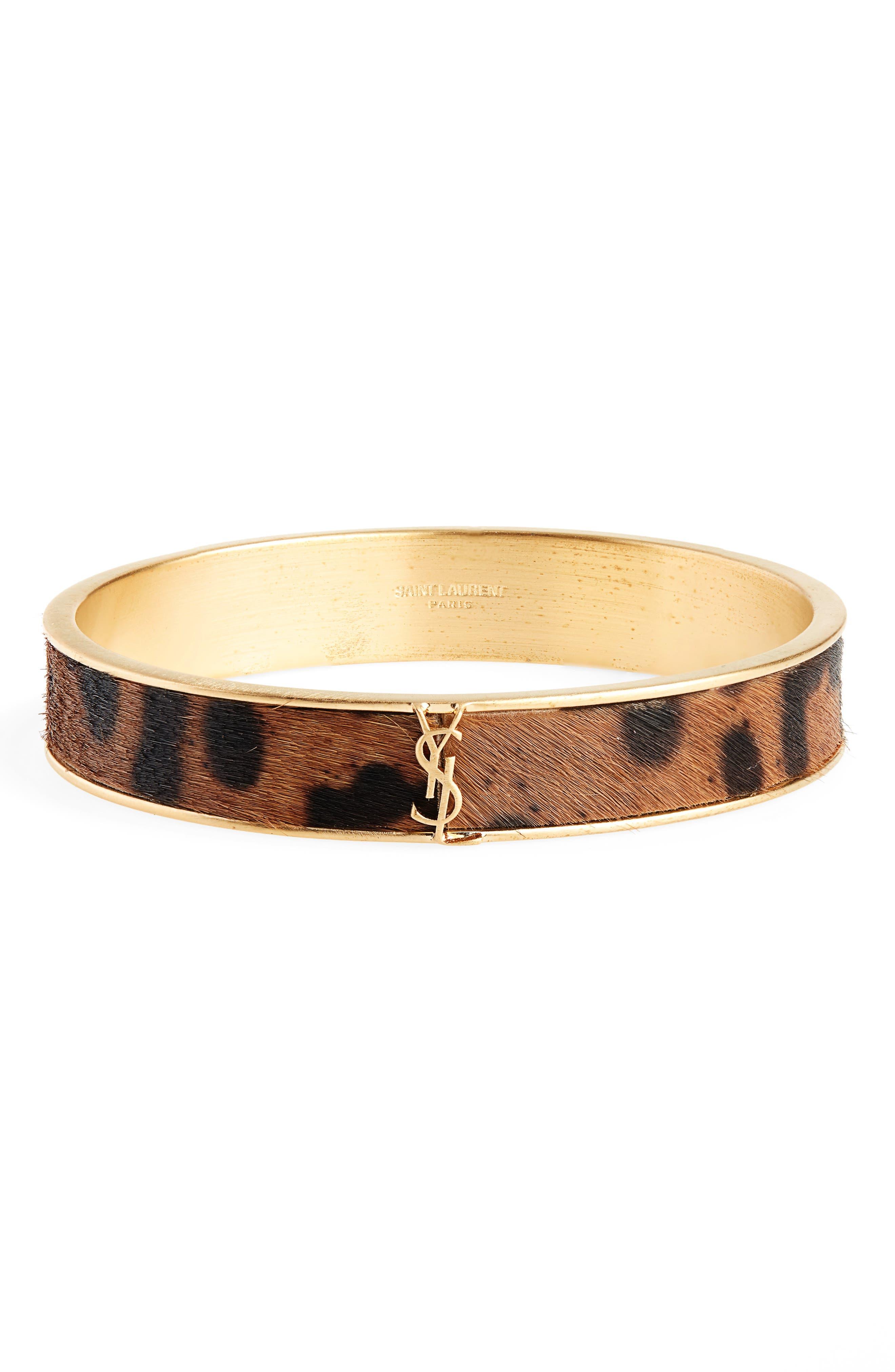 Leopard Look Genuine Calf Hair Bangle Bracelet,                             Main thumbnail 1, color,                             200