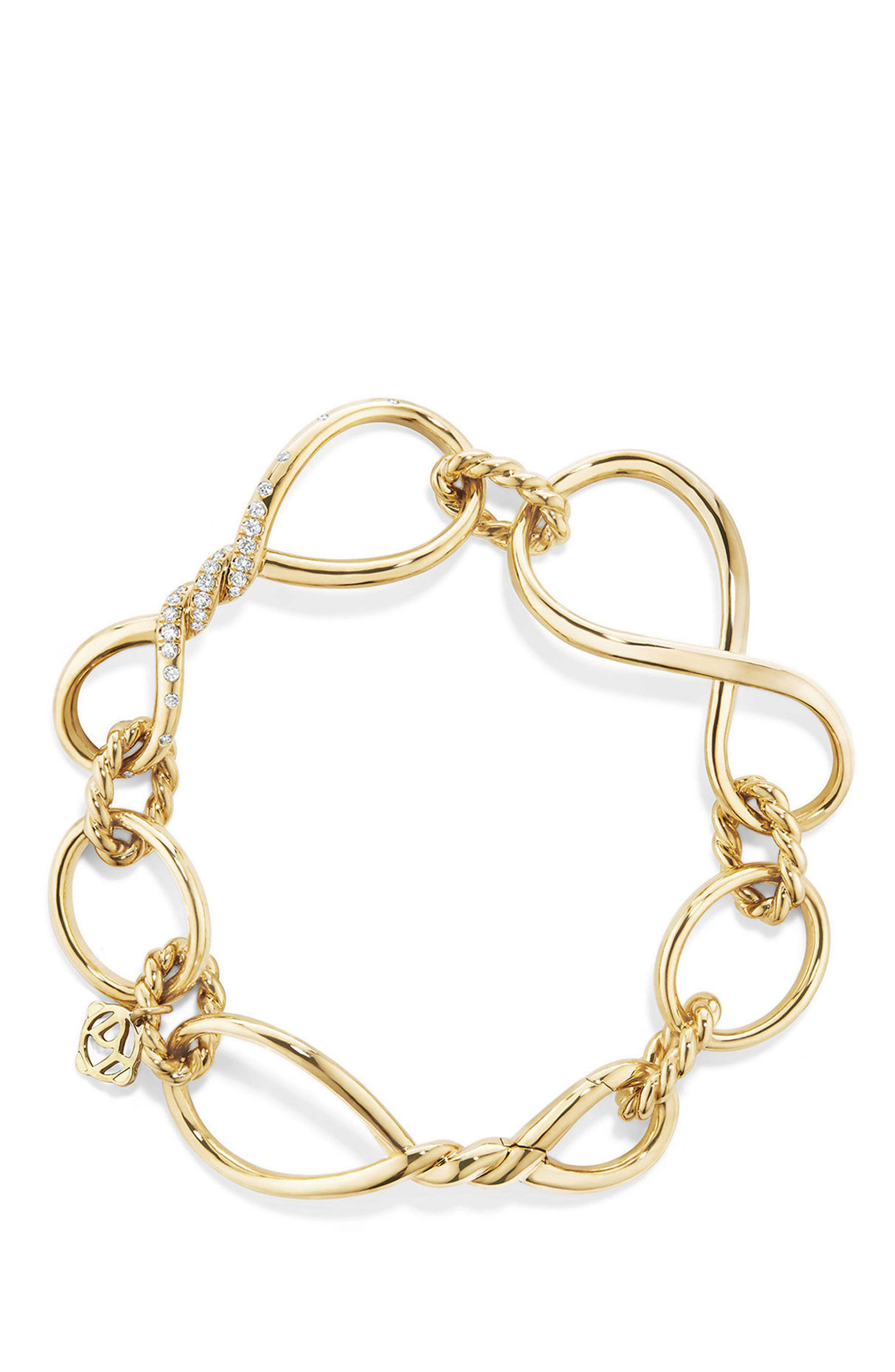 DAVID YURMAN,                             Continuance Chain Bracelet with Diamonds,                             Alternate thumbnail 3, color,                             YELLOW GOLD