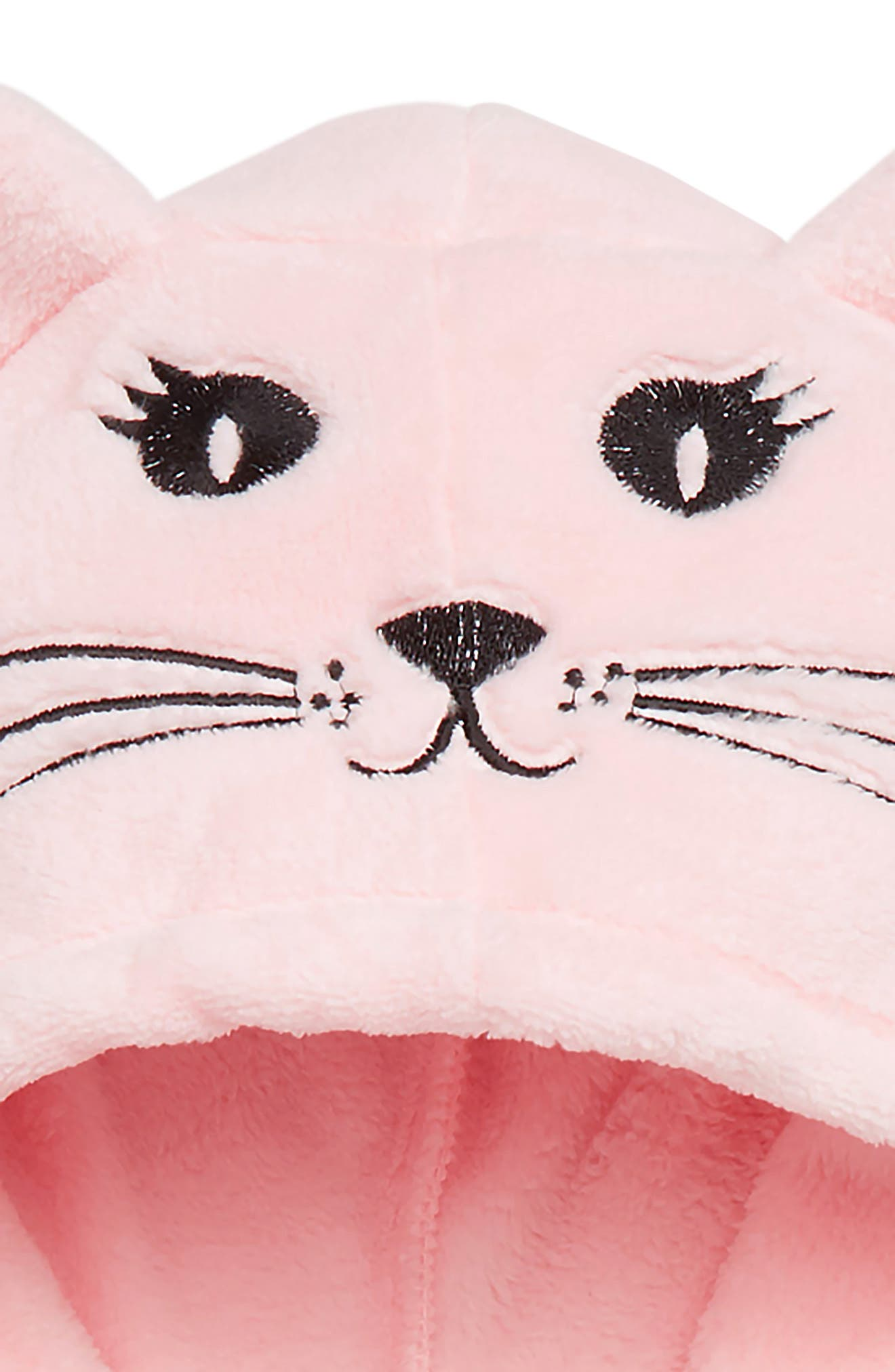 Animal Plush Fleece Pajama Hoodie,                             Alternate thumbnail 2, color,                             PINK BABY CAT FACE