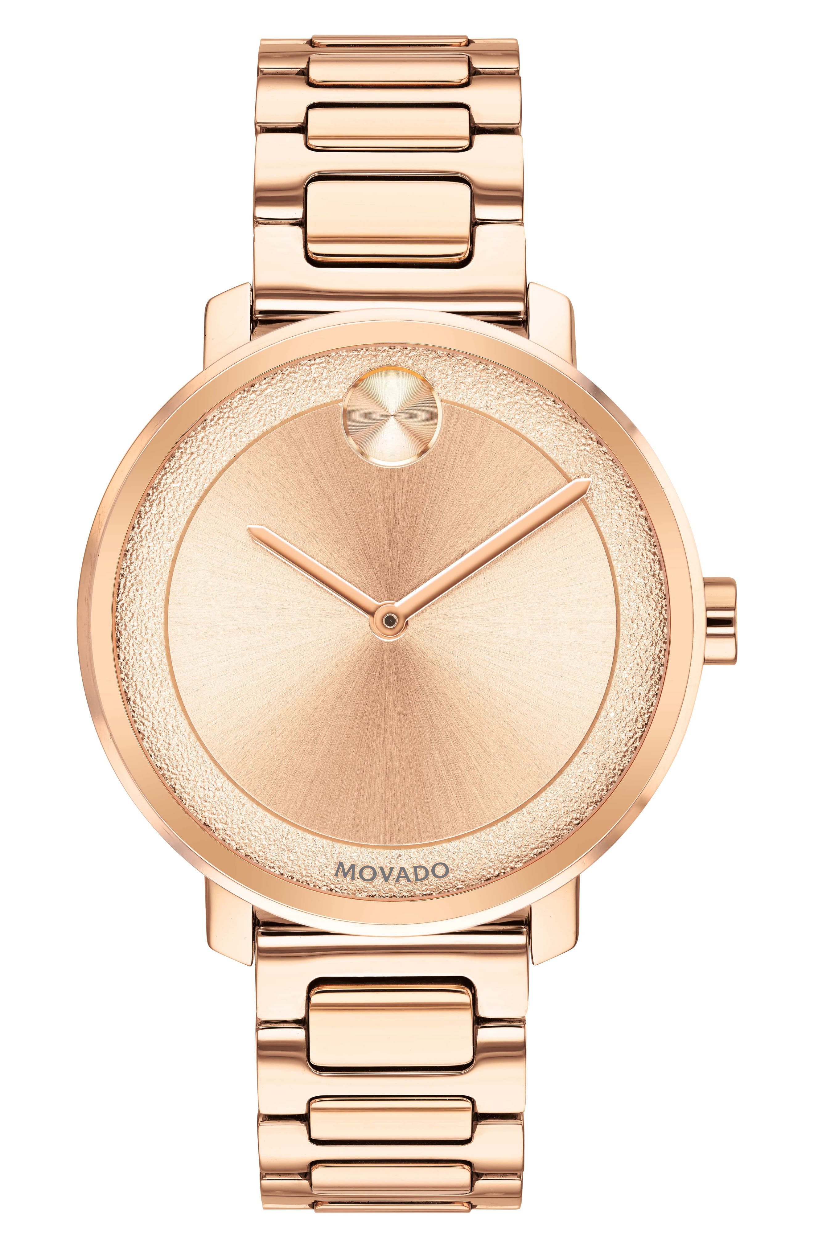 MOVADO,                             Bold Bracelet Watch, 34mm,                             Main thumbnail 1, color,                             ROSE GOLD