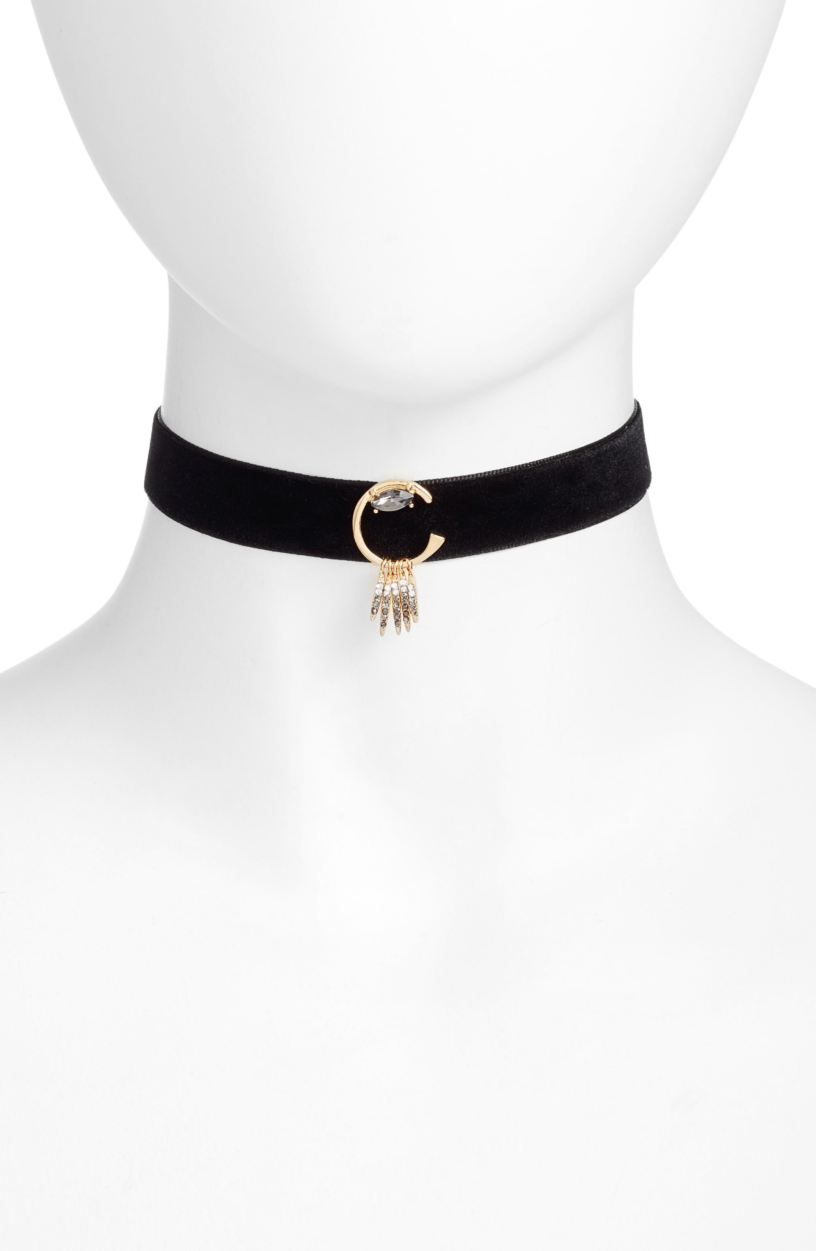 Velvet Choker Necklace,                             Main thumbnail 1, color,                             001