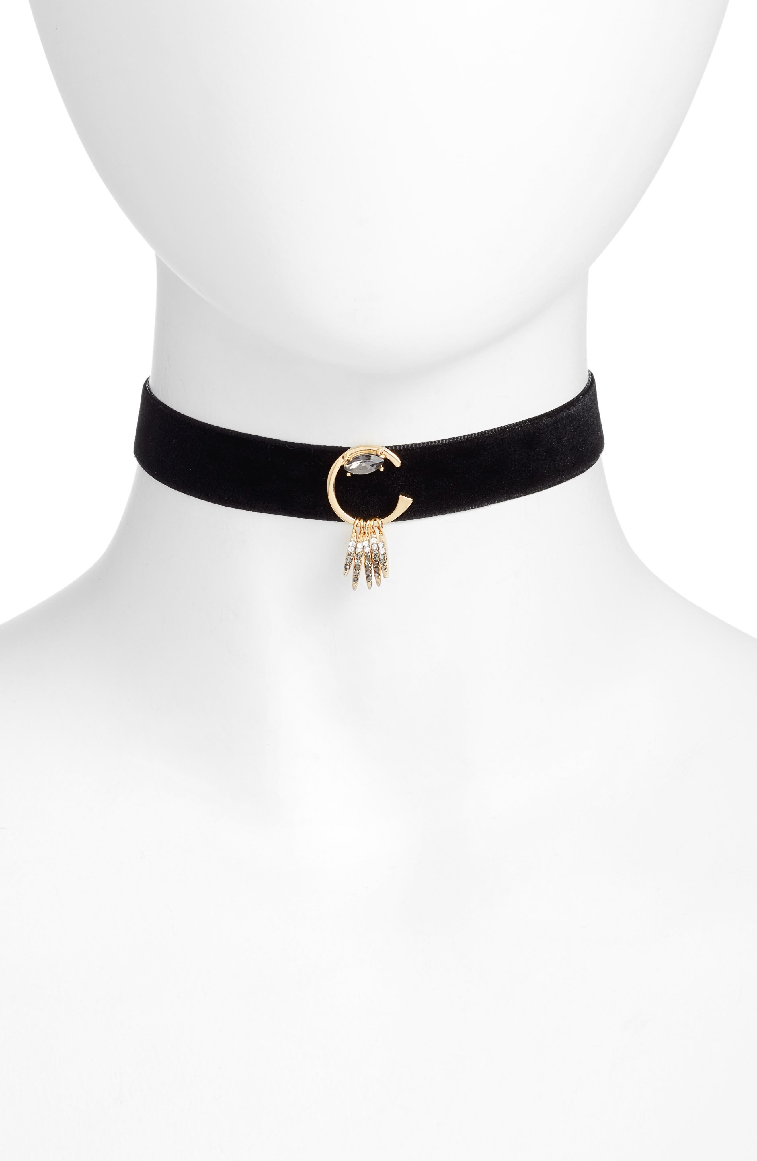 Velvet Choker Necklace,                         Main,                         color, 001