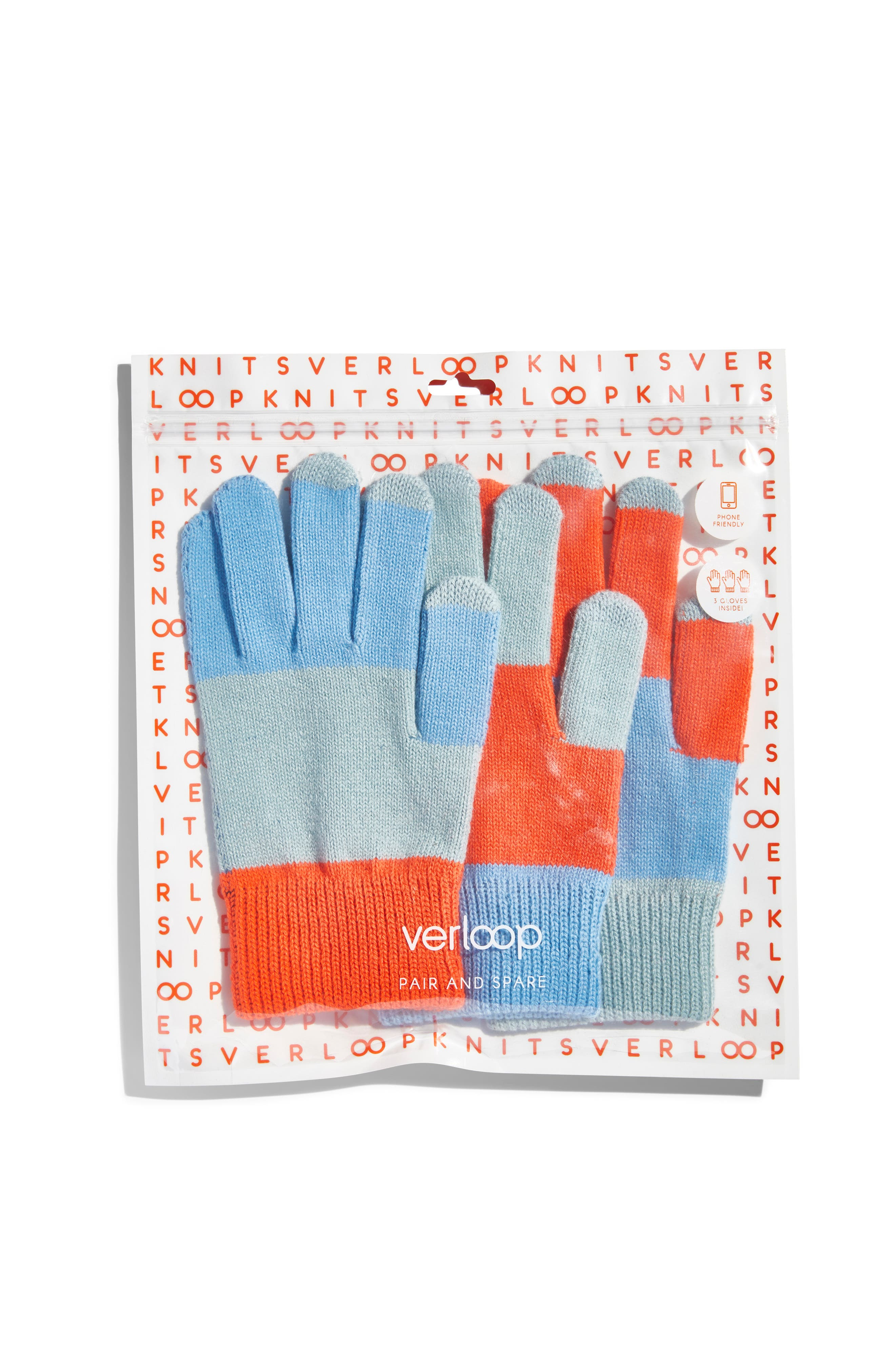 Pair & Spare Set of 3 Touchscreen Gloves,                             Alternate thumbnail 3, color,                             BLUES ORANGE
