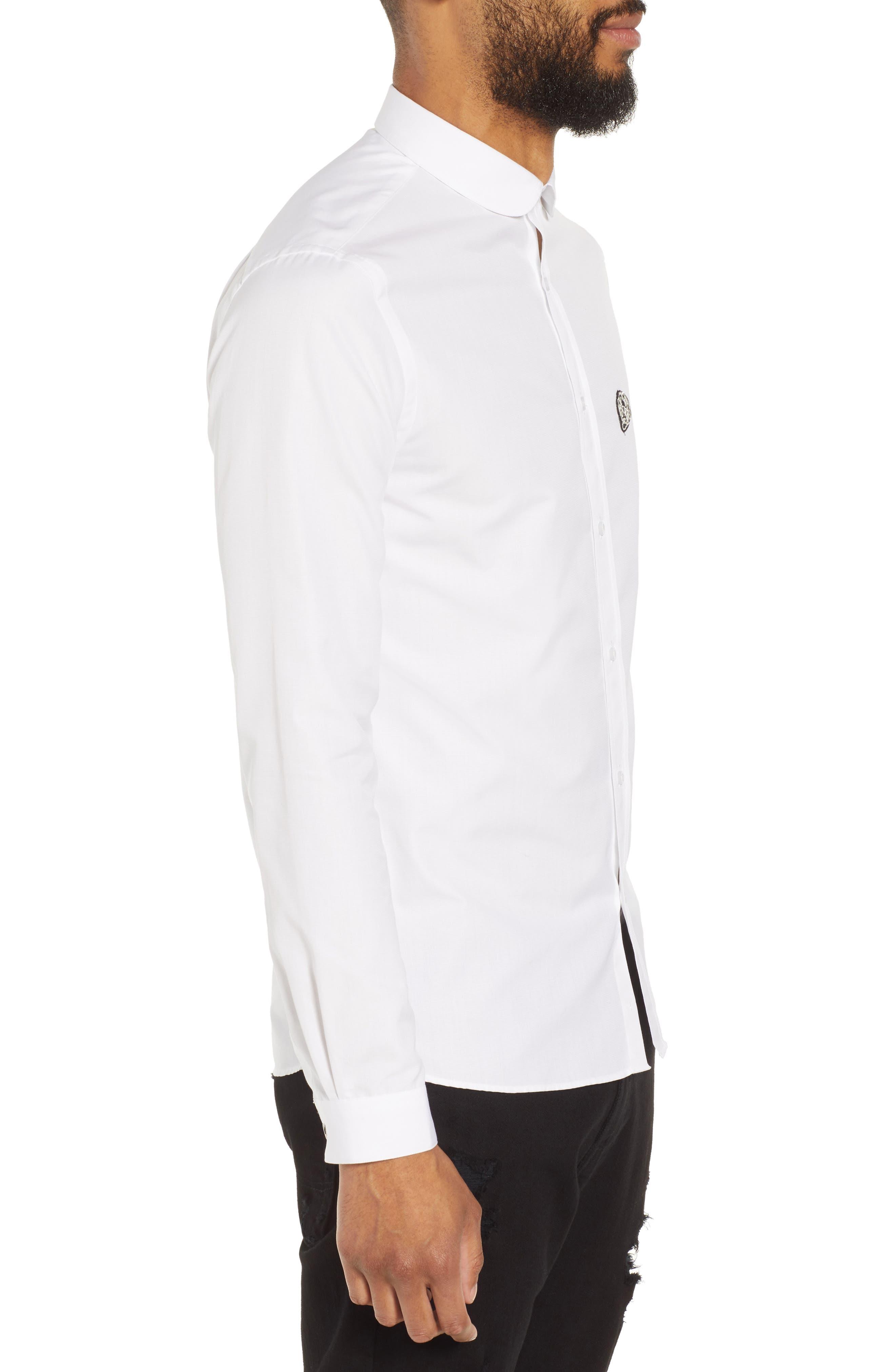 Slim Fit Skull Appliqué Sport Shirt,                             Alternate thumbnail 3, color,                             100