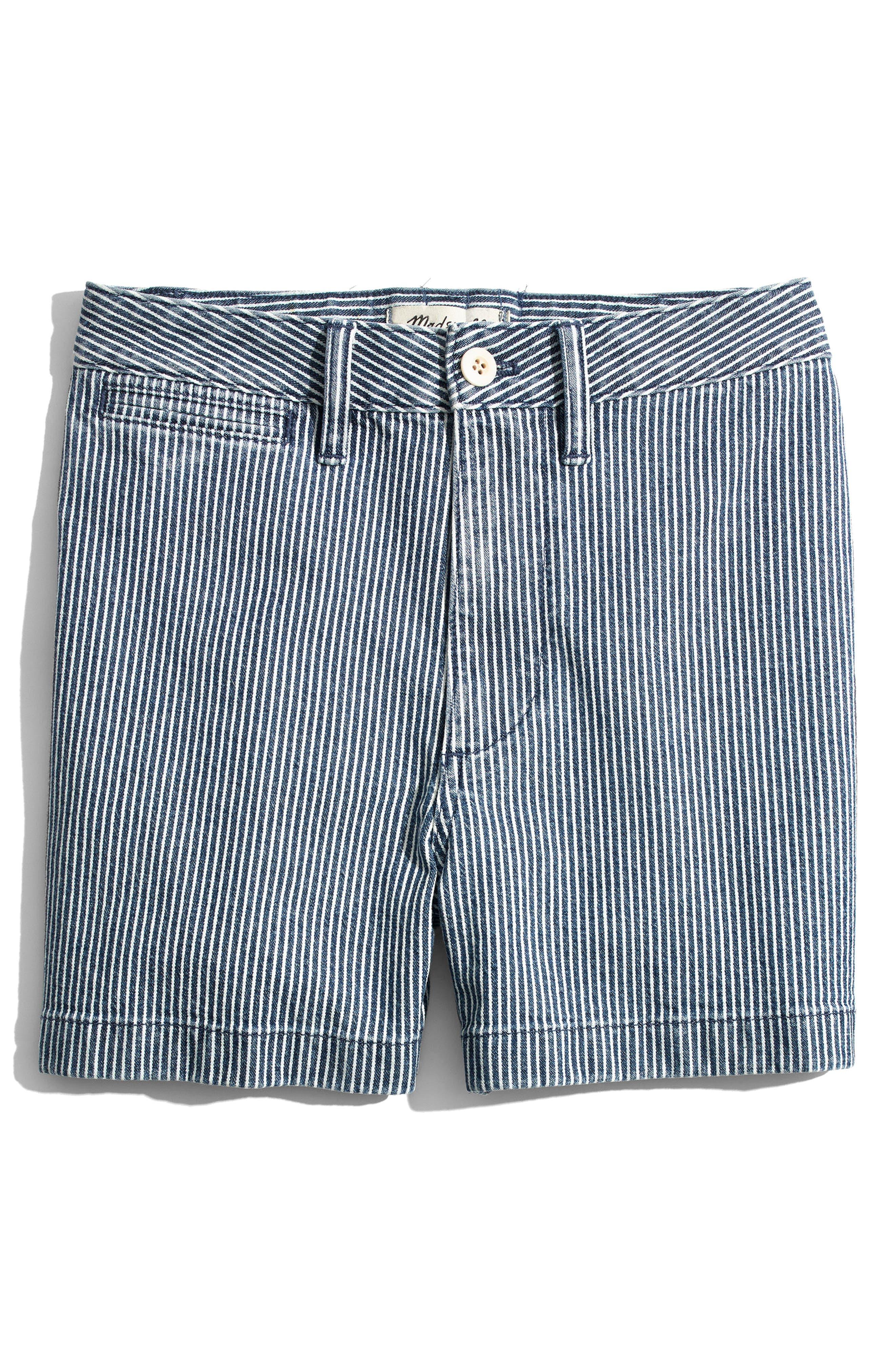 Emmett Stripe Denim Shorts,                             Alternate thumbnail 4, color,                             400