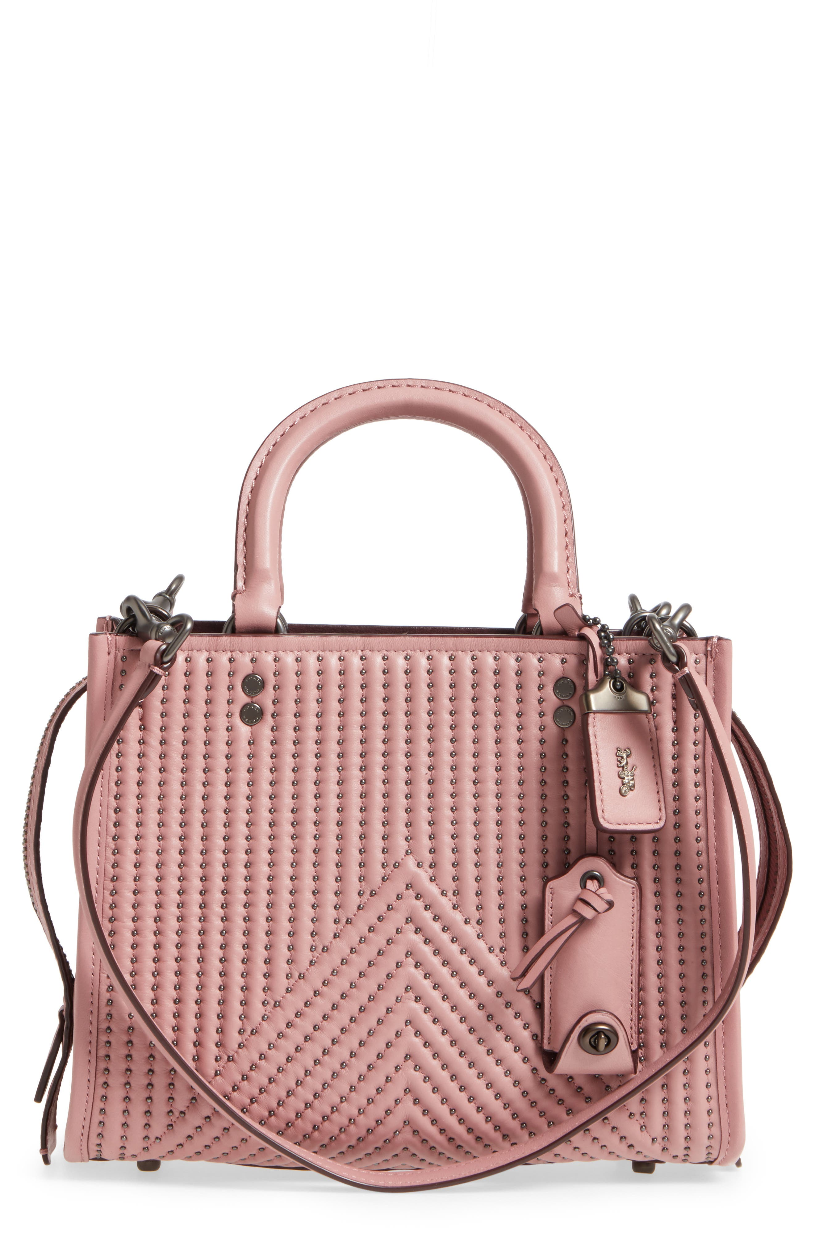 Quilted Rivet Rogue Leather Satchel,                             Main thumbnail 1, color,