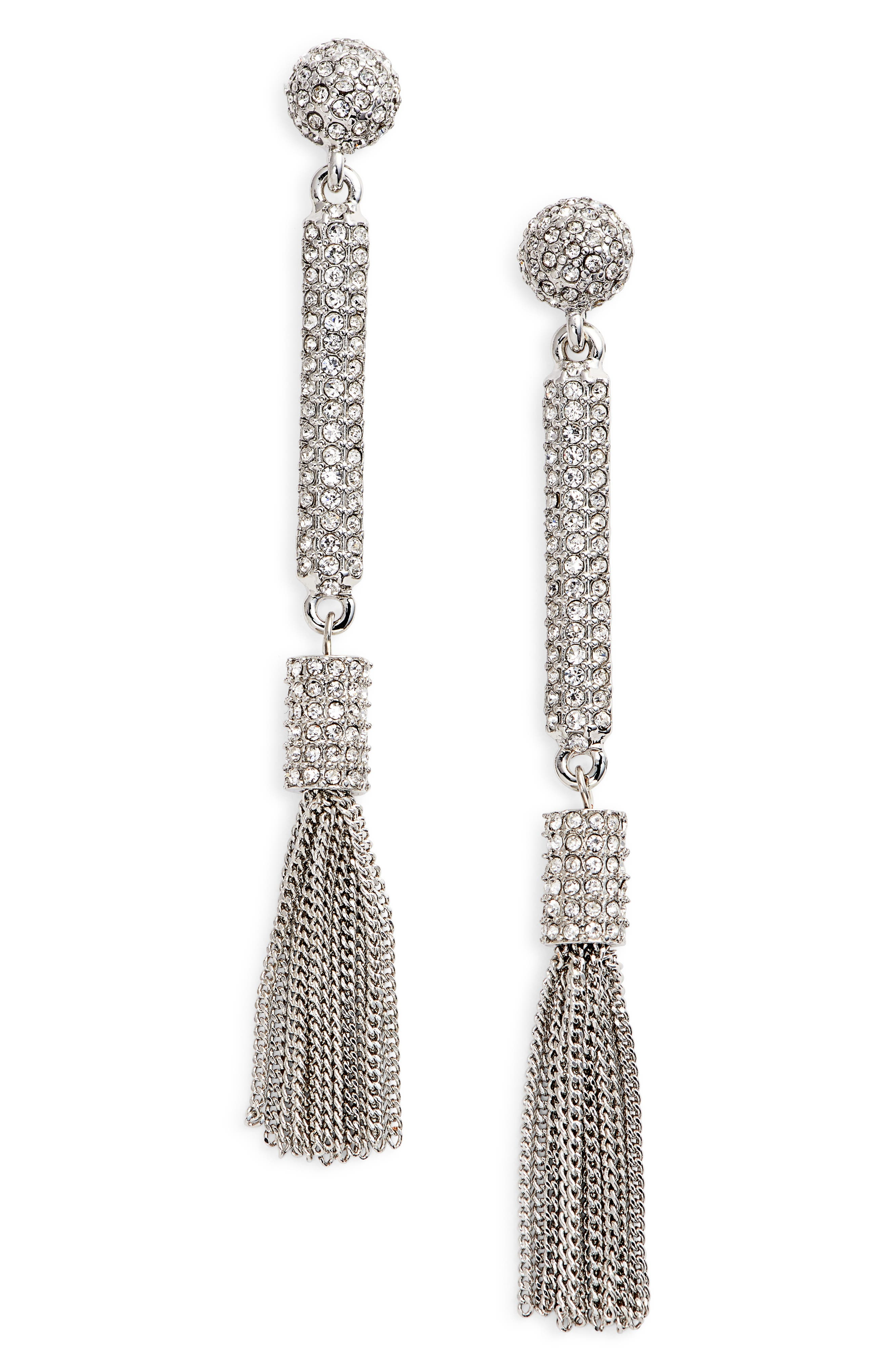 Pavé Tassel Earrings,                             Main thumbnail 1, color,
