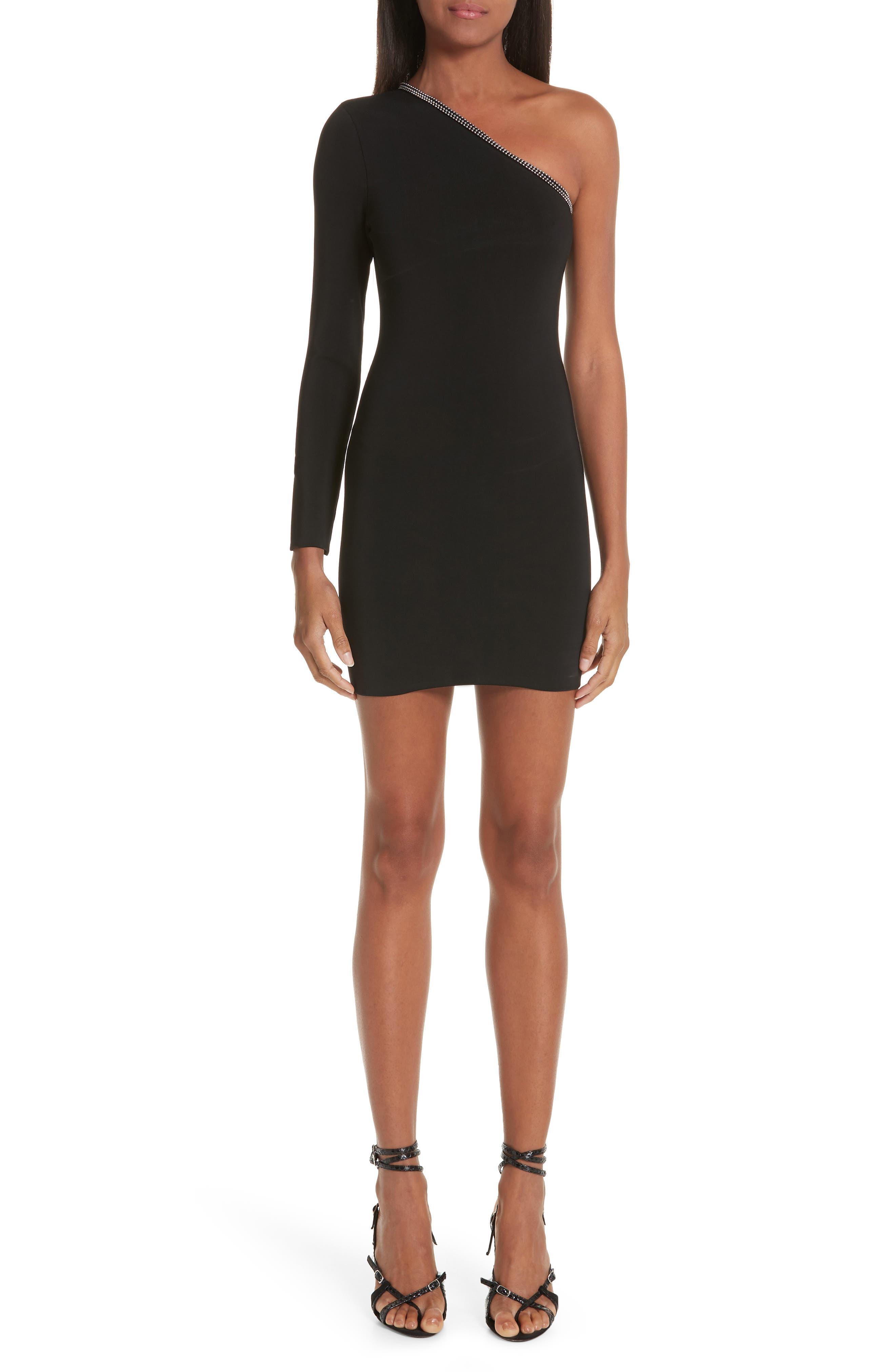 Alexander Wang Ball Chain Trim One-Shoulder Body-Con Dress