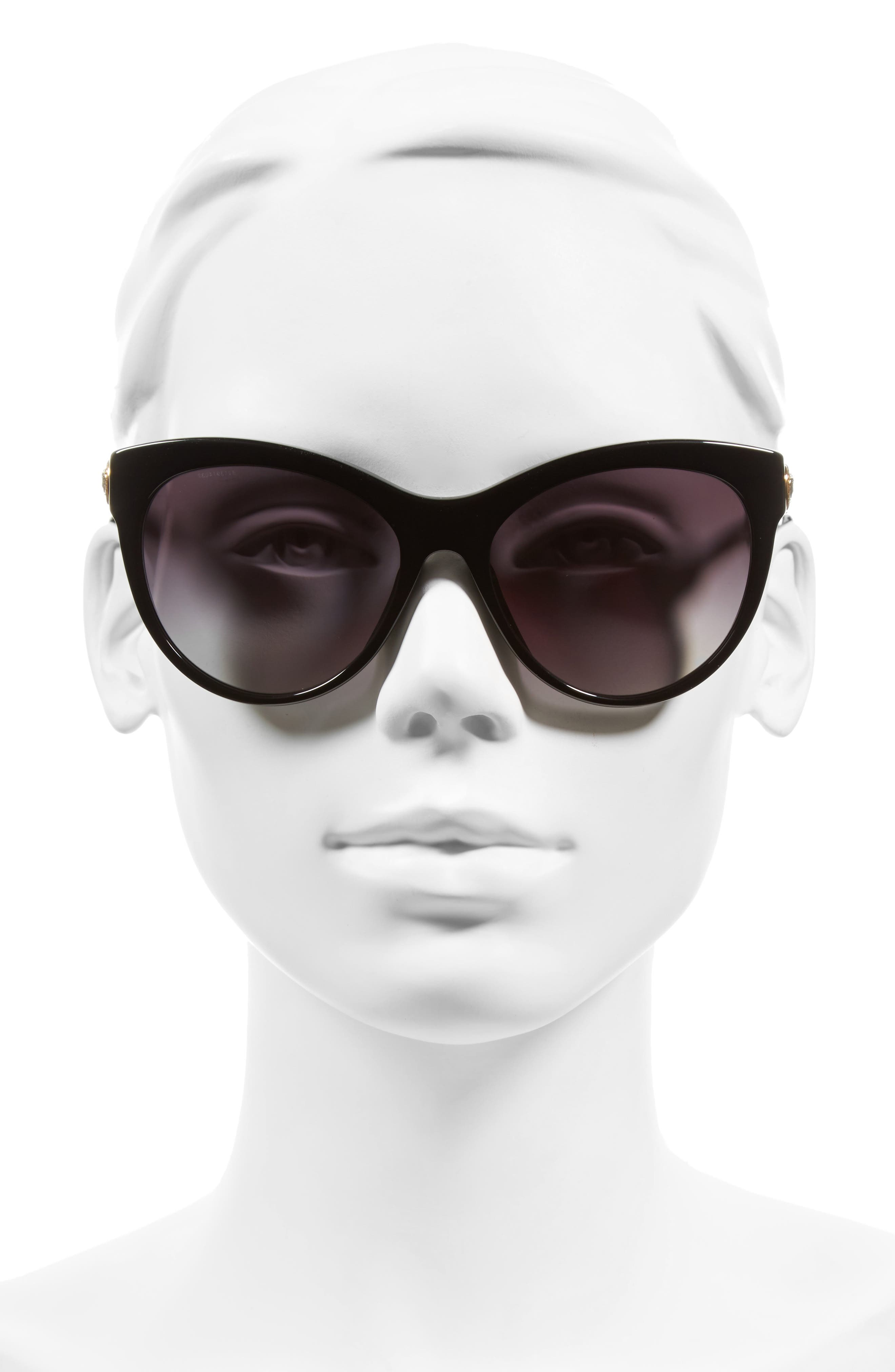 57mm Cat Eye Sunglasses,                             Alternate thumbnail 2, color,                             001