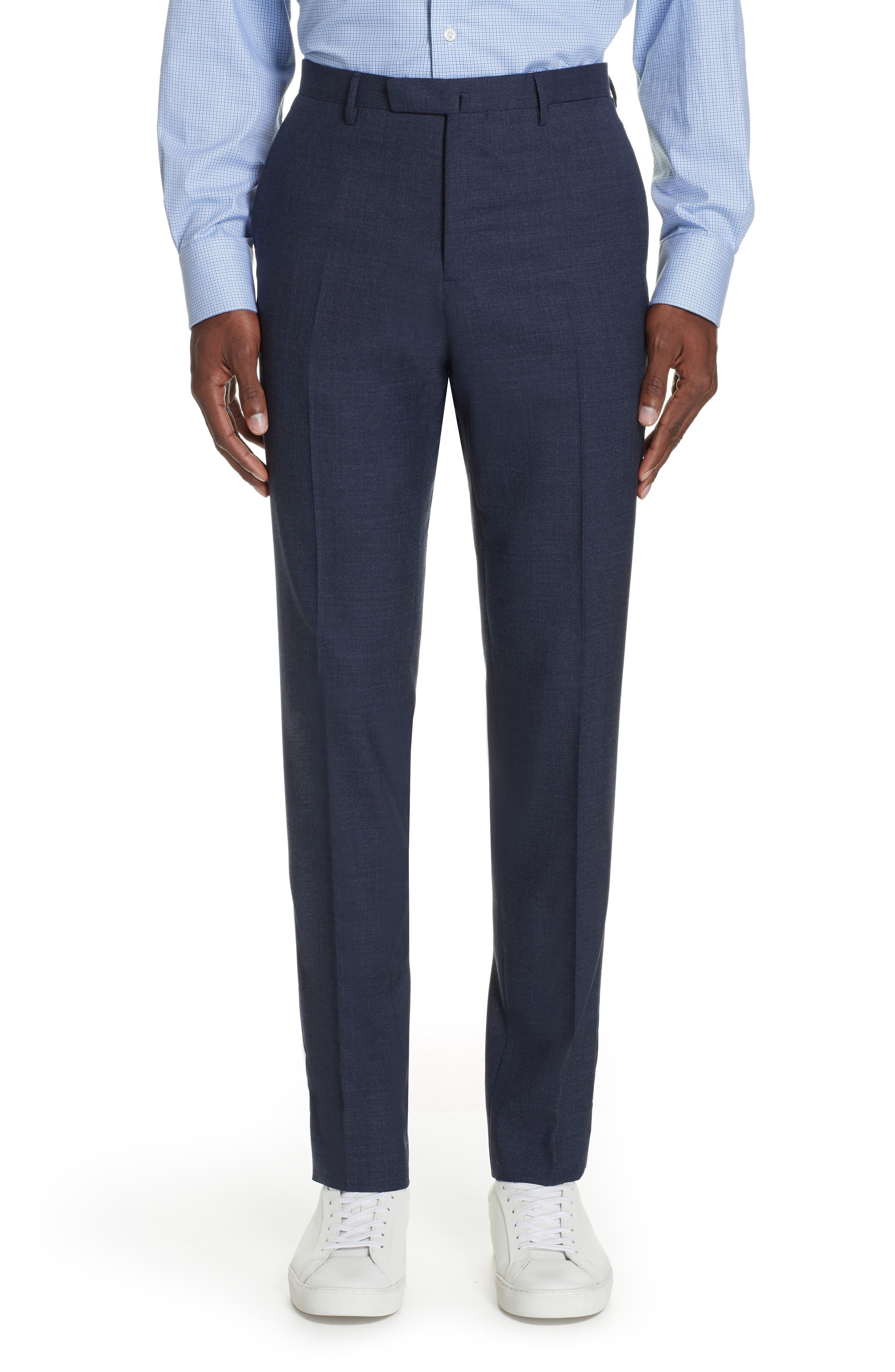 Trim Fit Solid Wool Suit,                             Alternate thumbnail 6, color,                             BLUE
