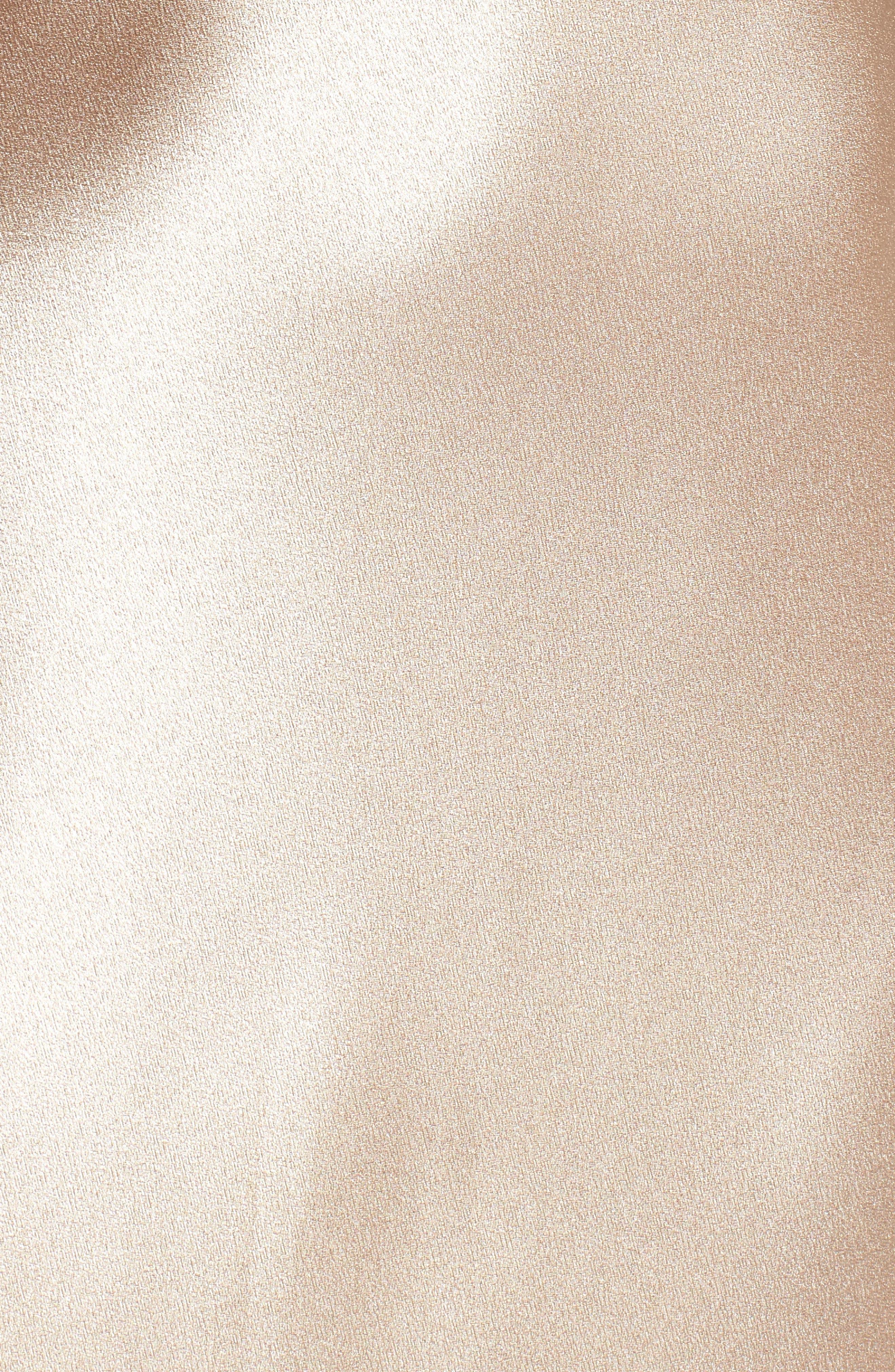 Serene Satin Off the Shoulder Gown,                             Alternate thumbnail 5, color,                             LATTE