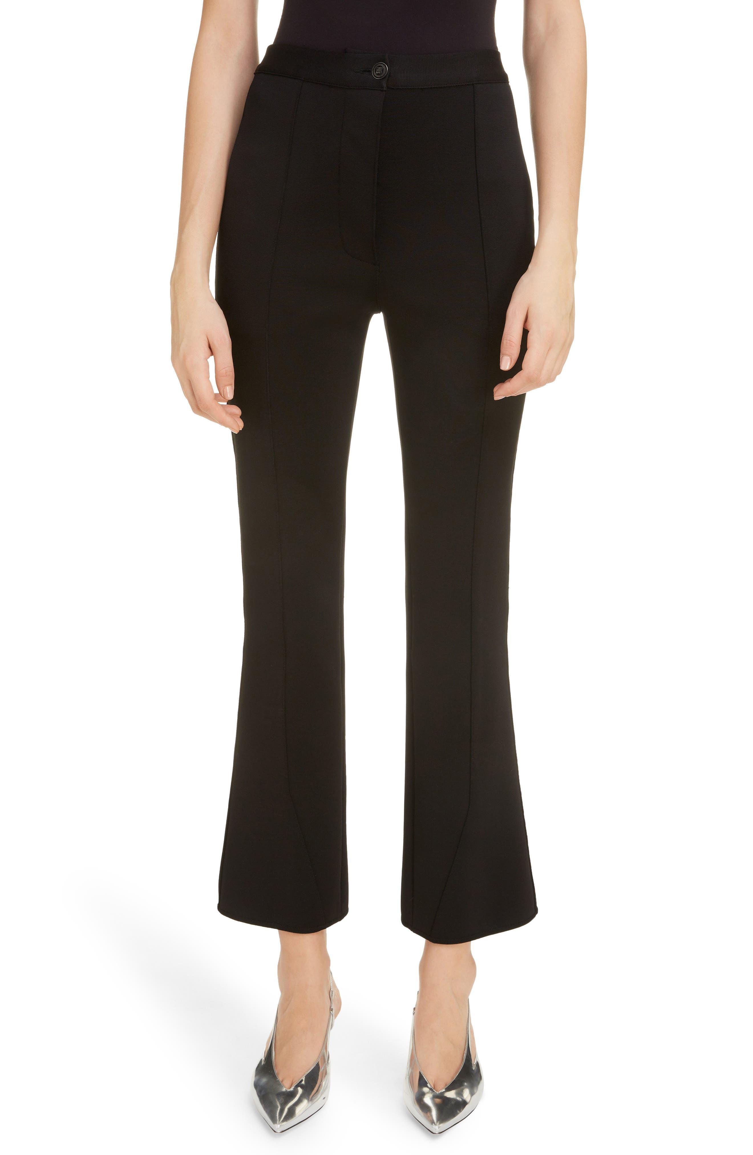 Givenchy Milano Knit Crop Flare Pants, Black
