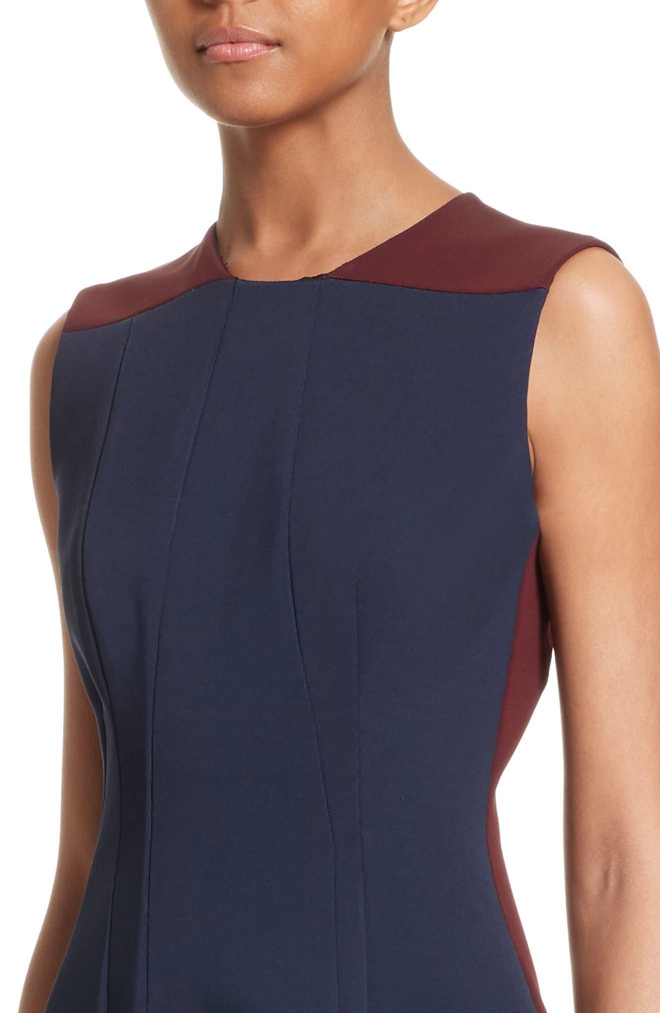 Colorblock Fit & Flare Dress,                             Alternate thumbnail 4, color,                             410