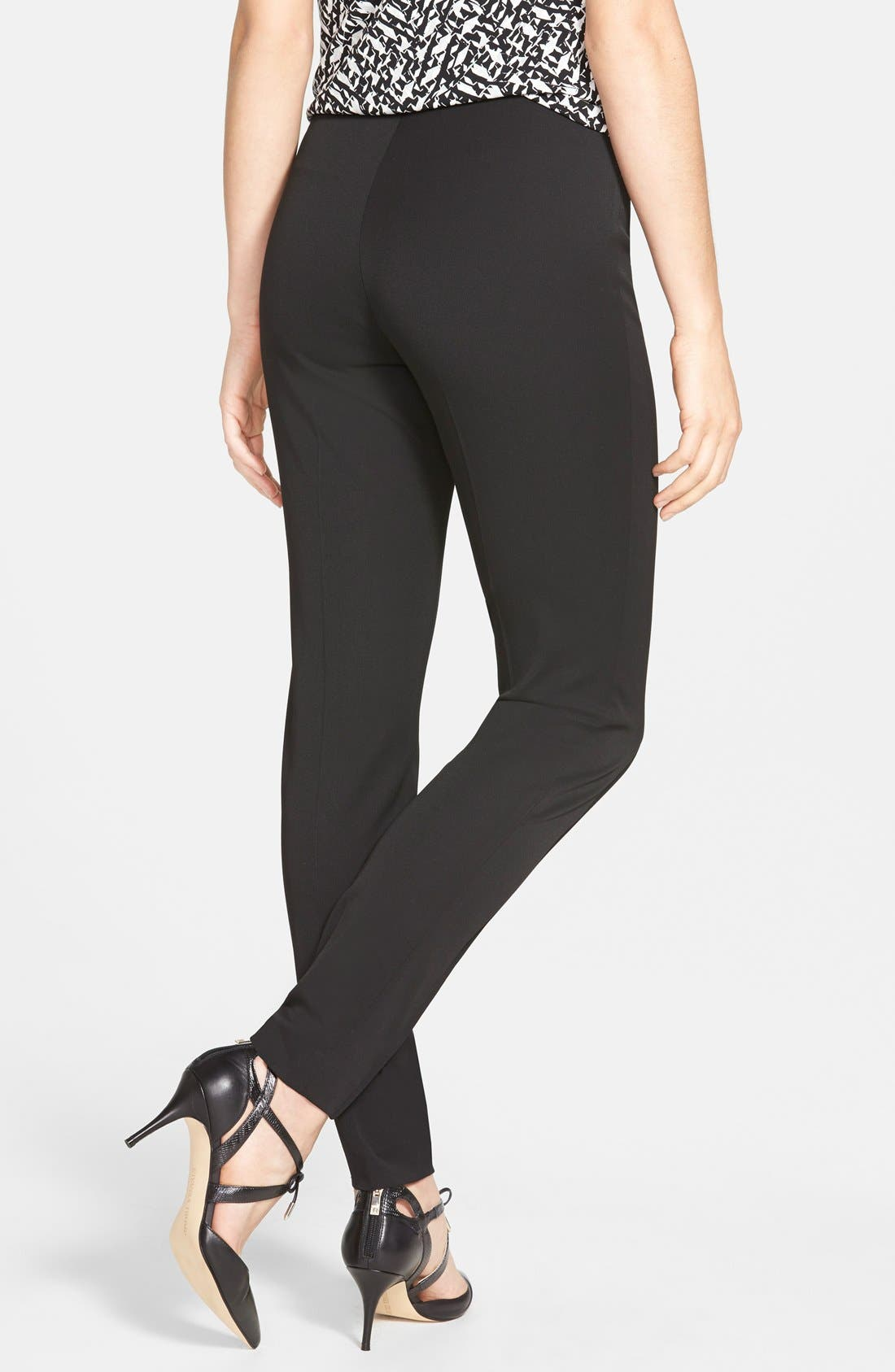 Side Zip Stretch Twill Pants,                             Alternate thumbnail 5, color,                             RICH BLACK