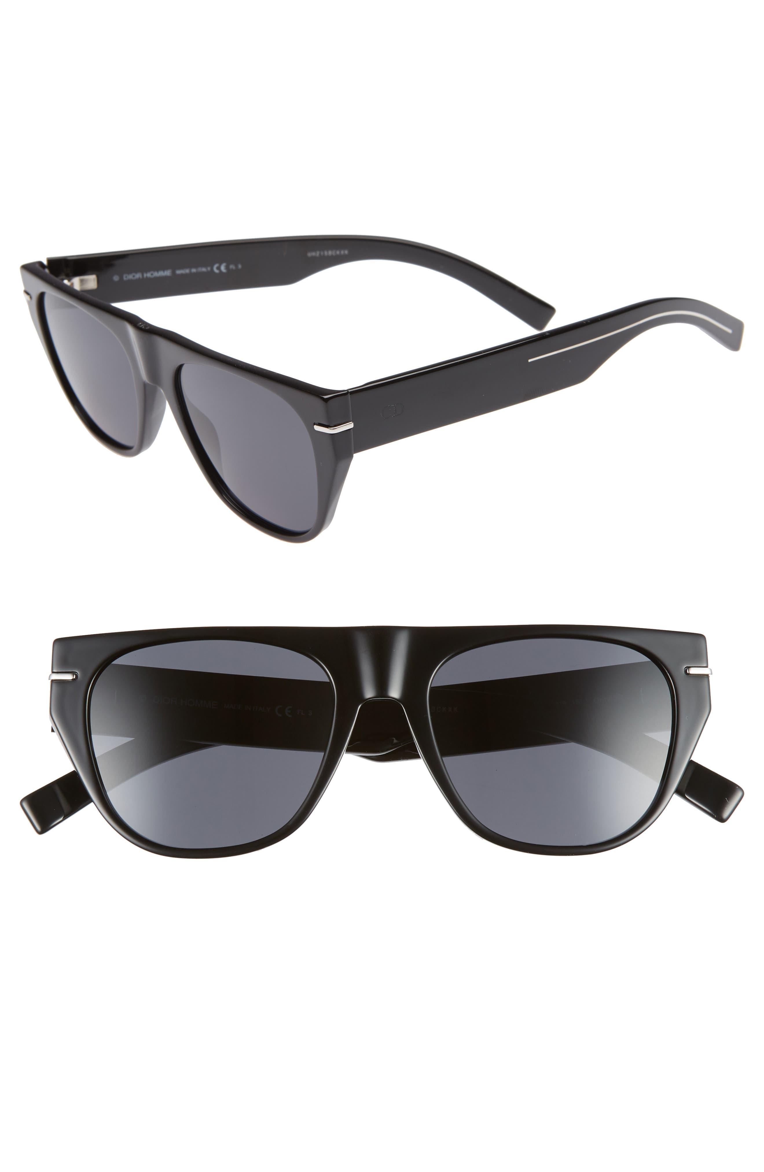 53mm Flat-Top Sunglasses,                         Main,                         color, BLACK
