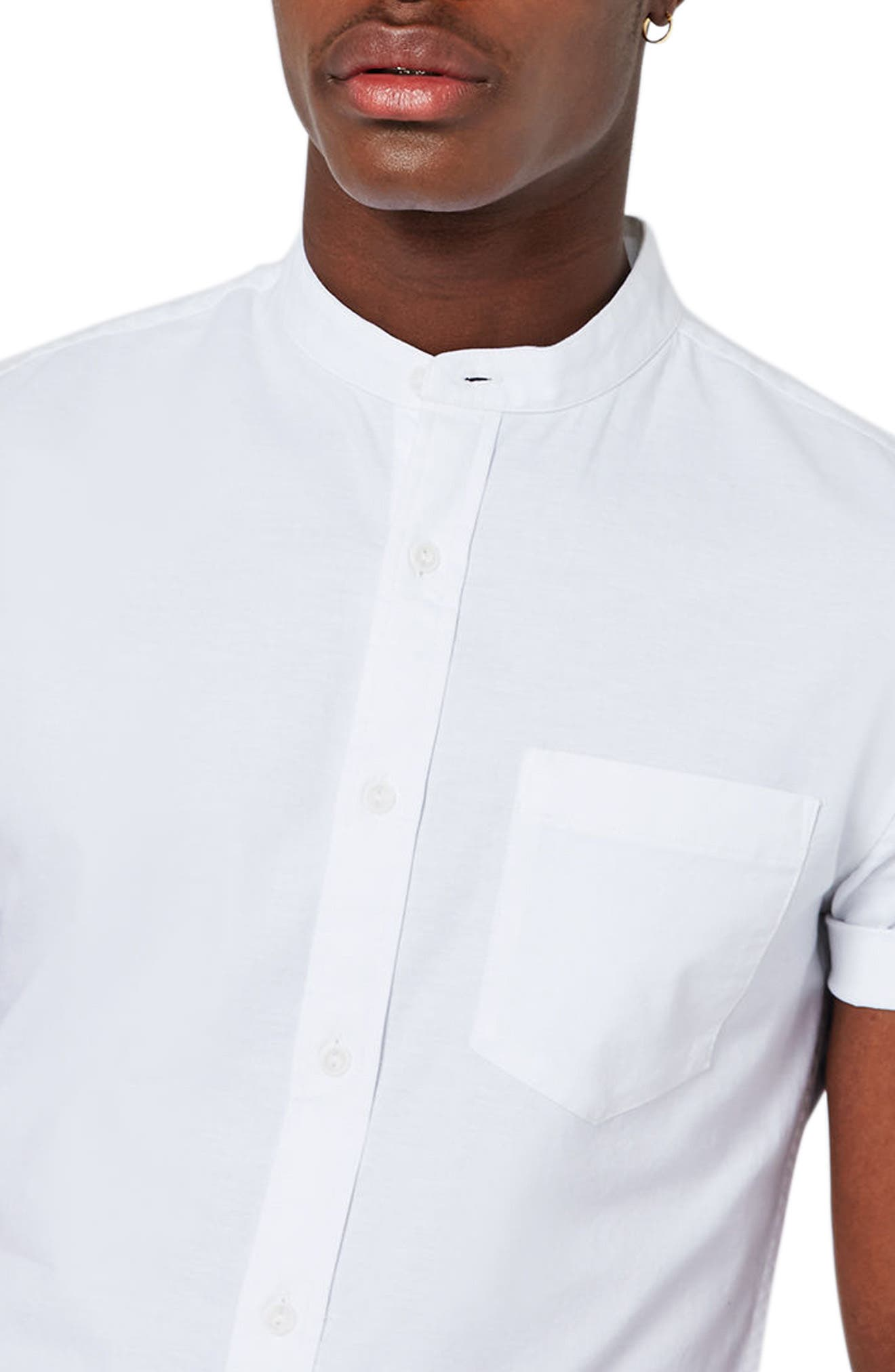 Stand Collar Oxford Shirt,                             Alternate thumbnail 3, color,                             WHITE