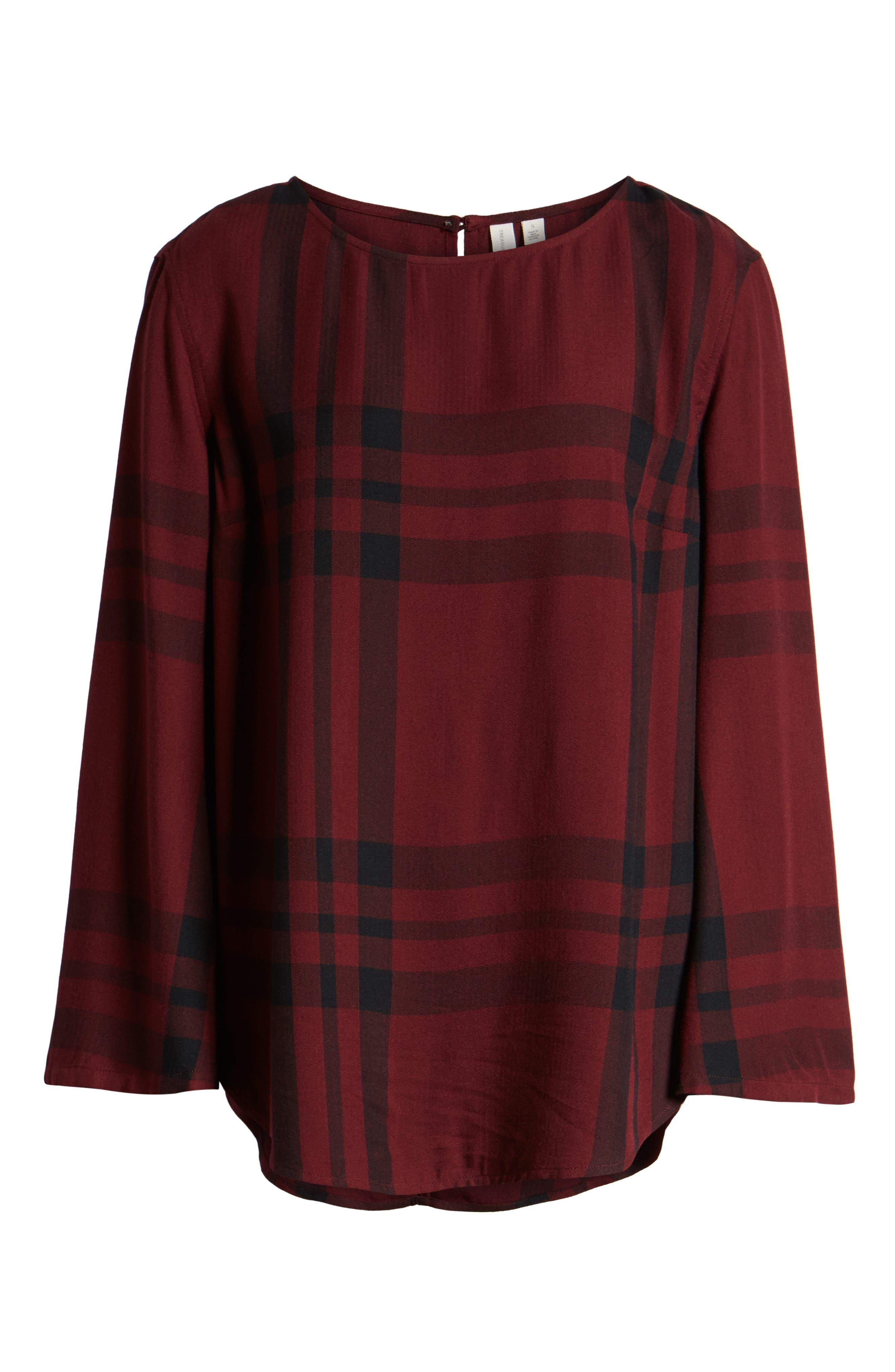Bell Sleeve Shirt,                             Alternate thumbnail 6, color,                             RED TANNIN BULLSEYE PLAID