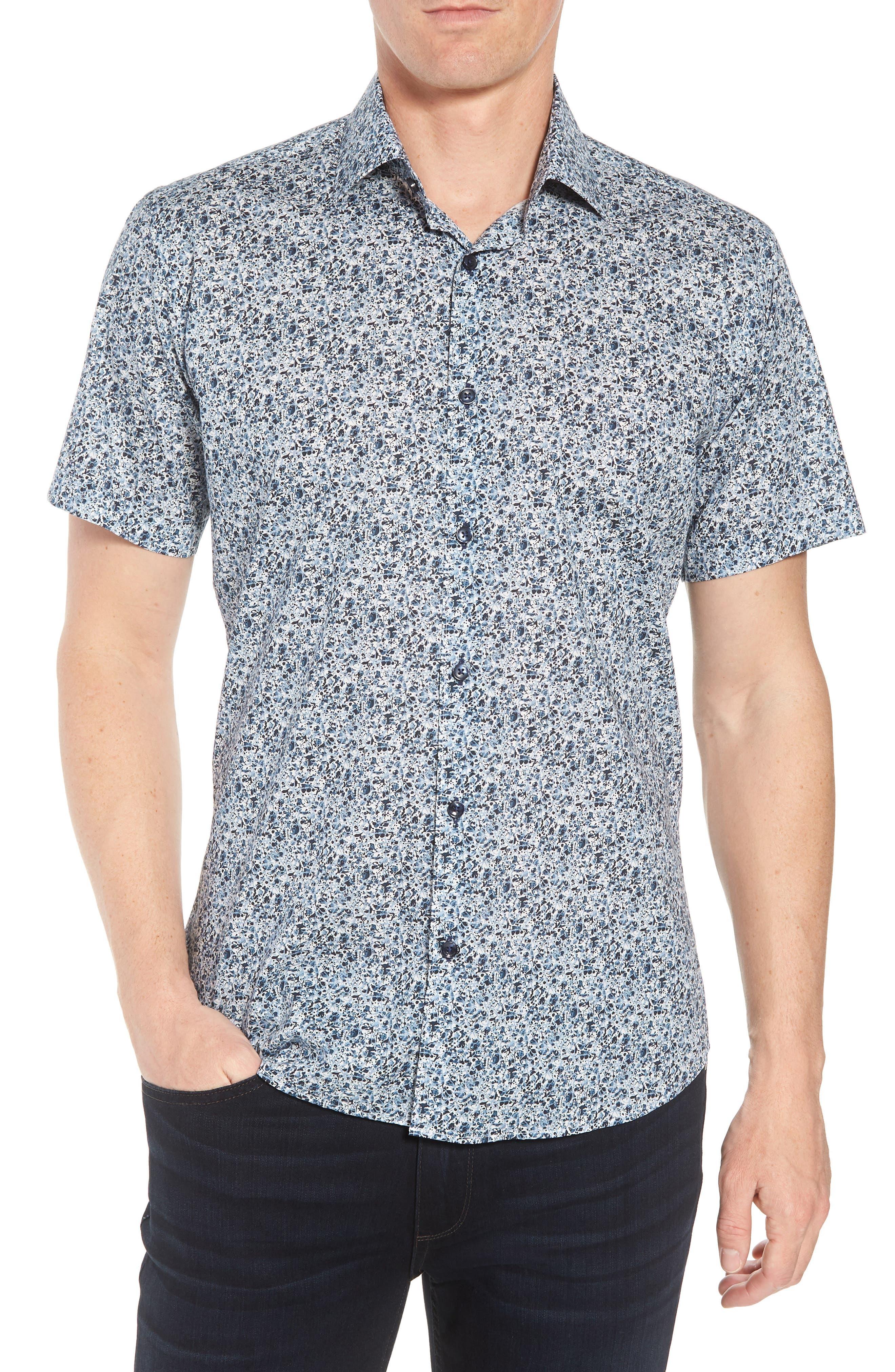 Speckle Print Sport Shirt,                         Main,                         color, BLUE SPECKLE