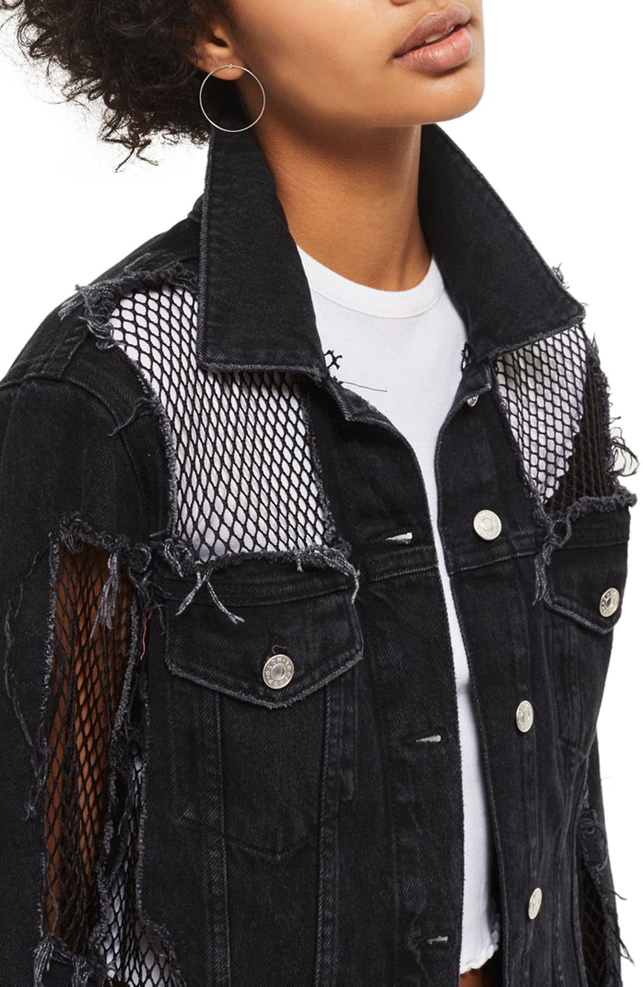 Fishnet Detail Oversize Denim Jacket,                             Alternate thumbnail 3, color,                             001