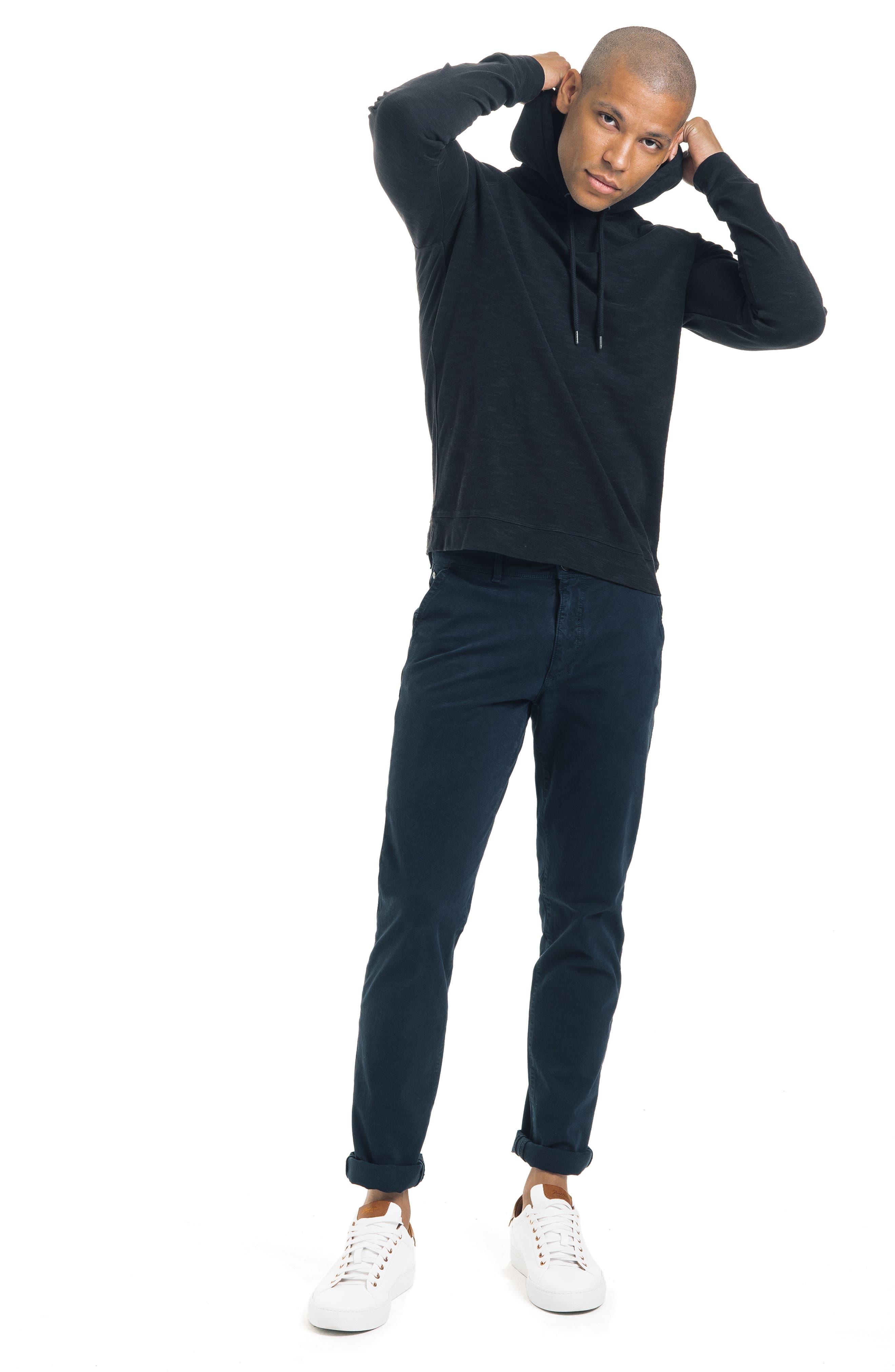 Long Sleeve Slim Fit Slub Hoodie,                             Alternate thumbnail 5, color,                             BLACK
